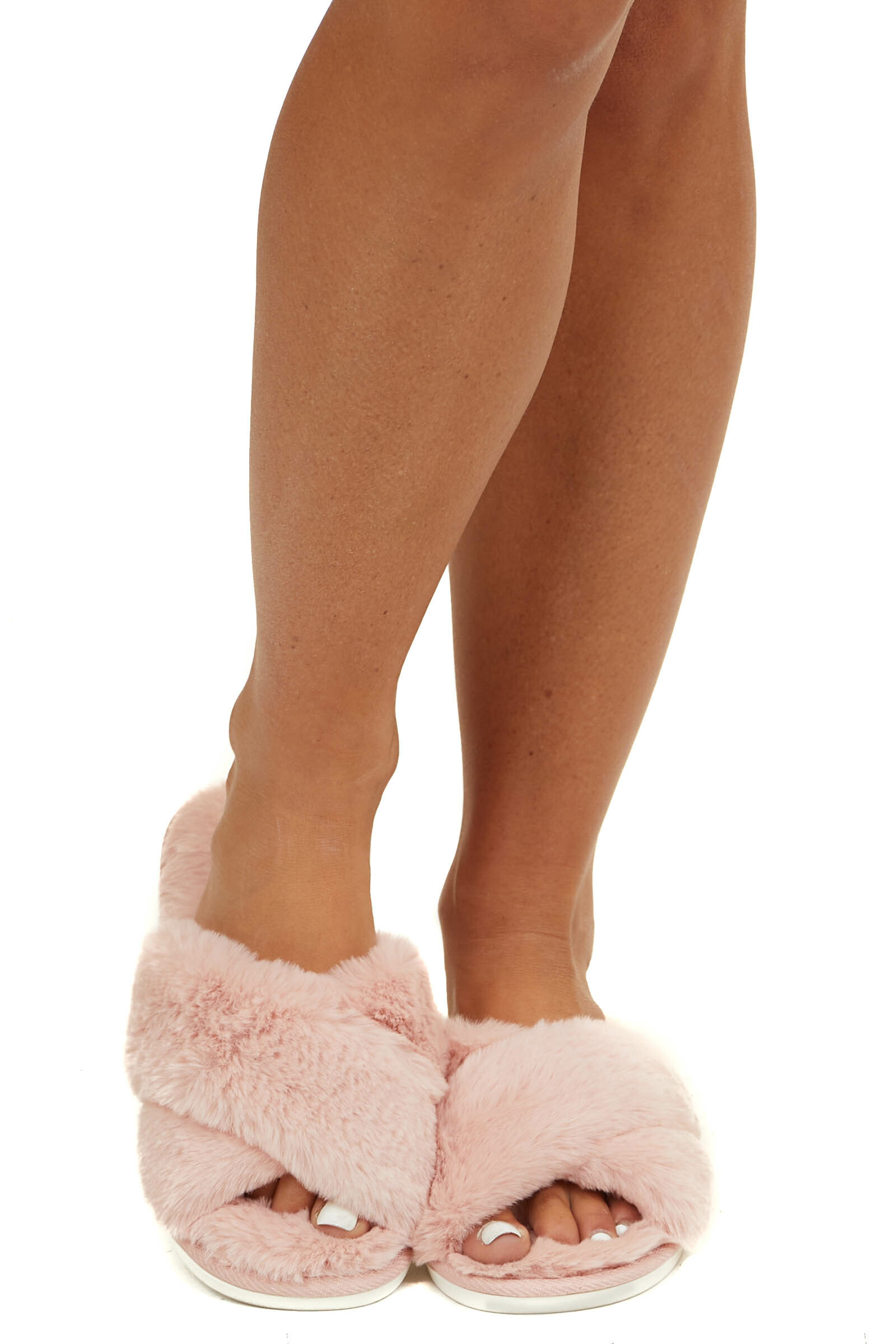 Pale Pink Faux Fur Slippers with Memory Foam Sole