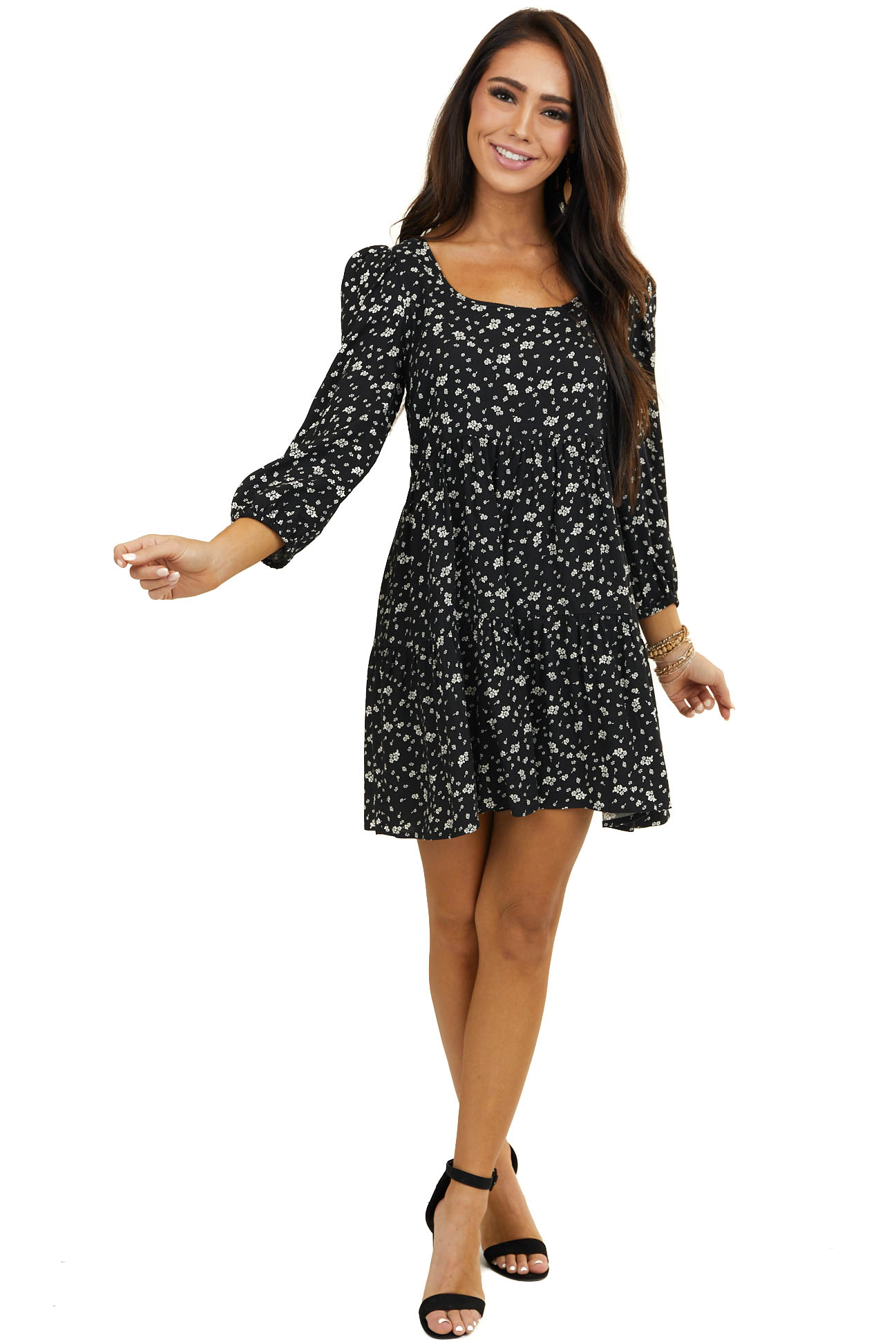 Black and White Floral Babydoll Dress with Bubble Sleeves