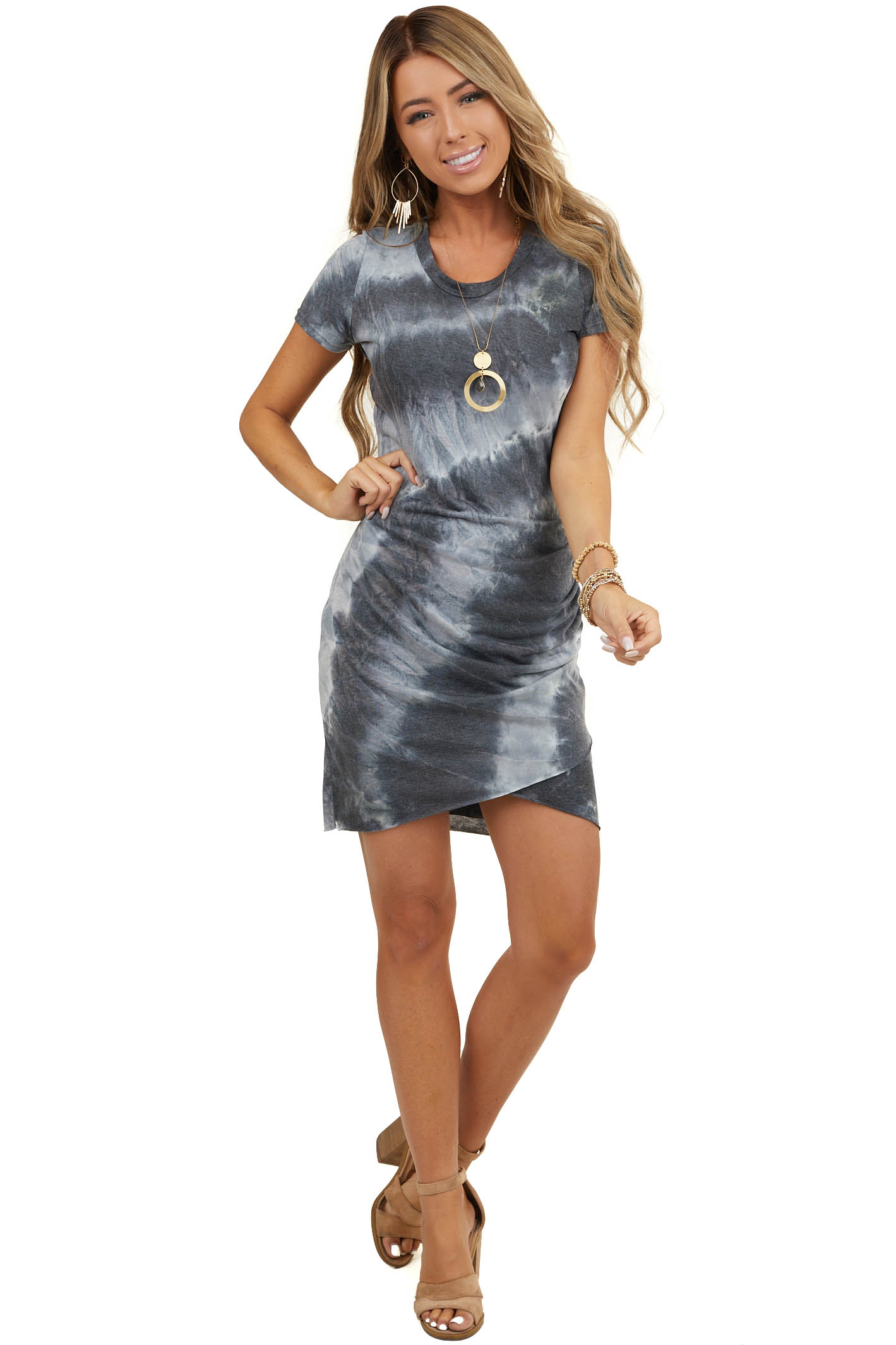 Charcoal Grey Tie Dye Short Dress with Side Ruching