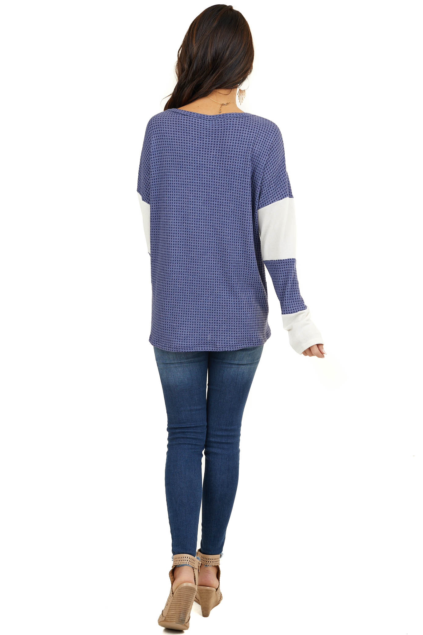 Periwinkle and Cream Waffle Knit Long Sleeve Top