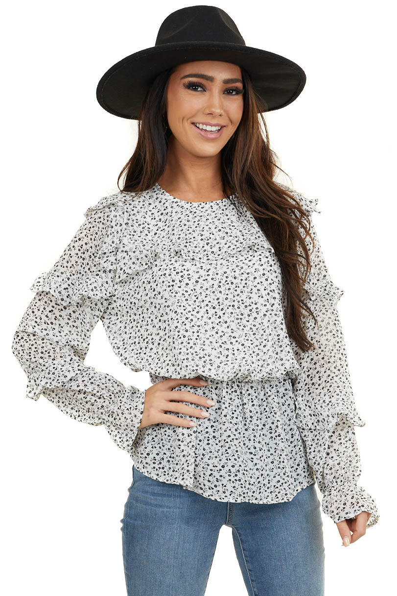 Off White and Black Floral Print Top with Ruffle Details