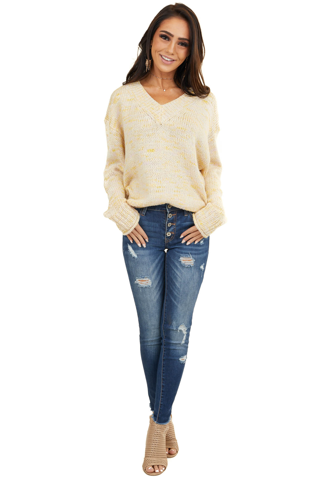 Straw Yellow Speckled Chunky Knit Sweater with V Neckline