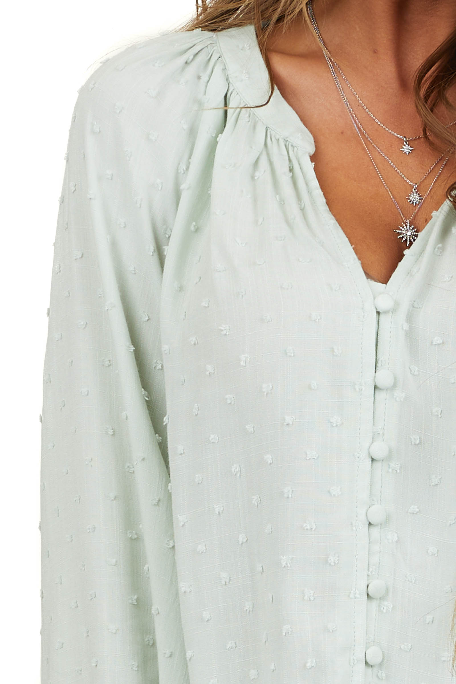 Mint Long Sleeve Button Up Blouse with Swiss Dots and Cuffs