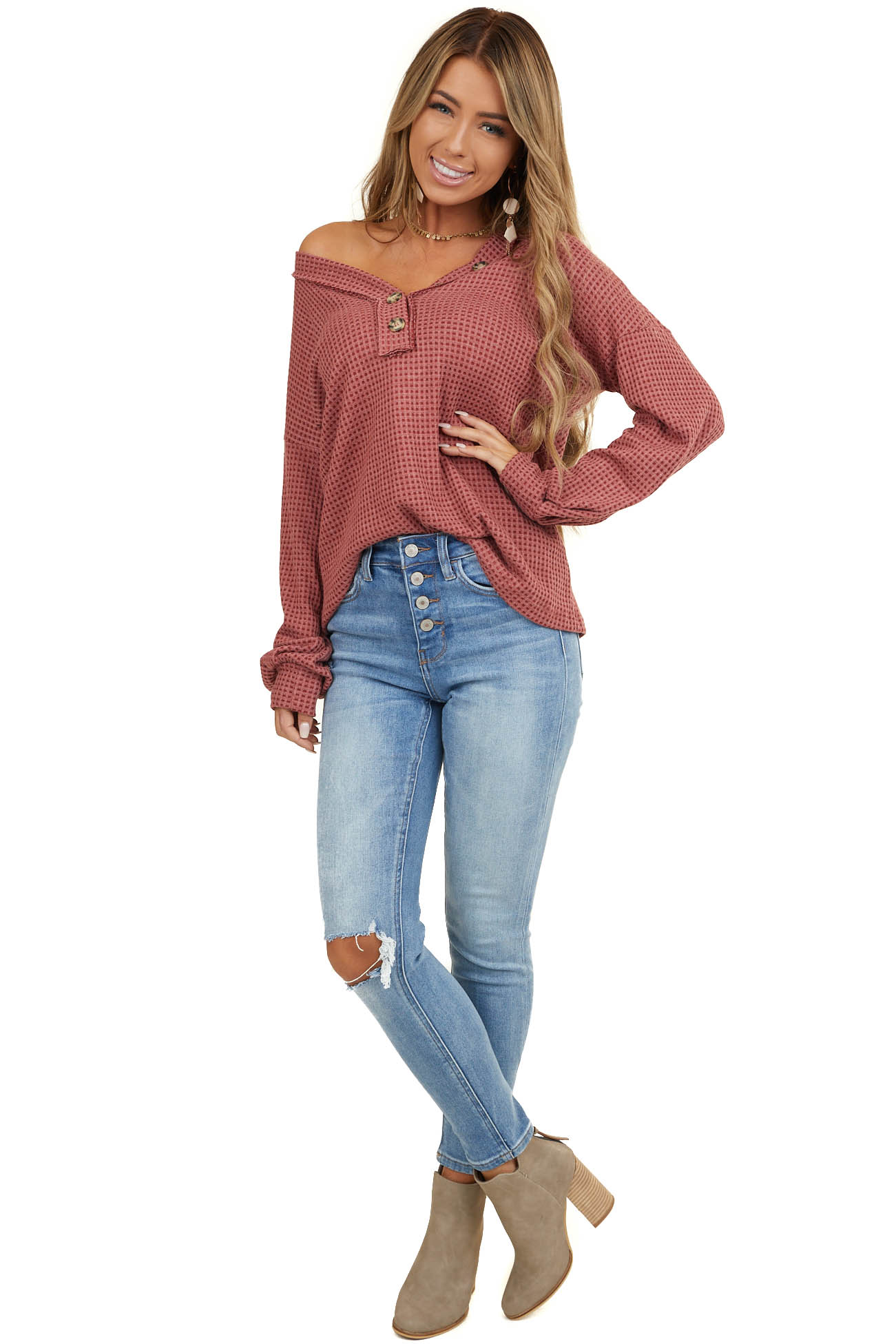 Marsala Waffle Knit Top with Front Button Details