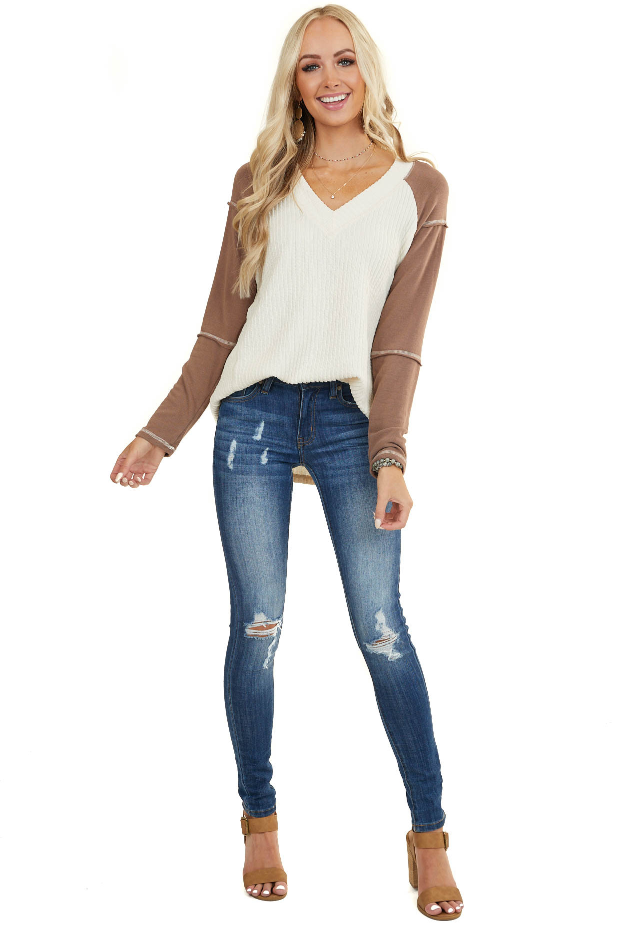Cream and Mocha Textured Long Sleeve V Neck Top