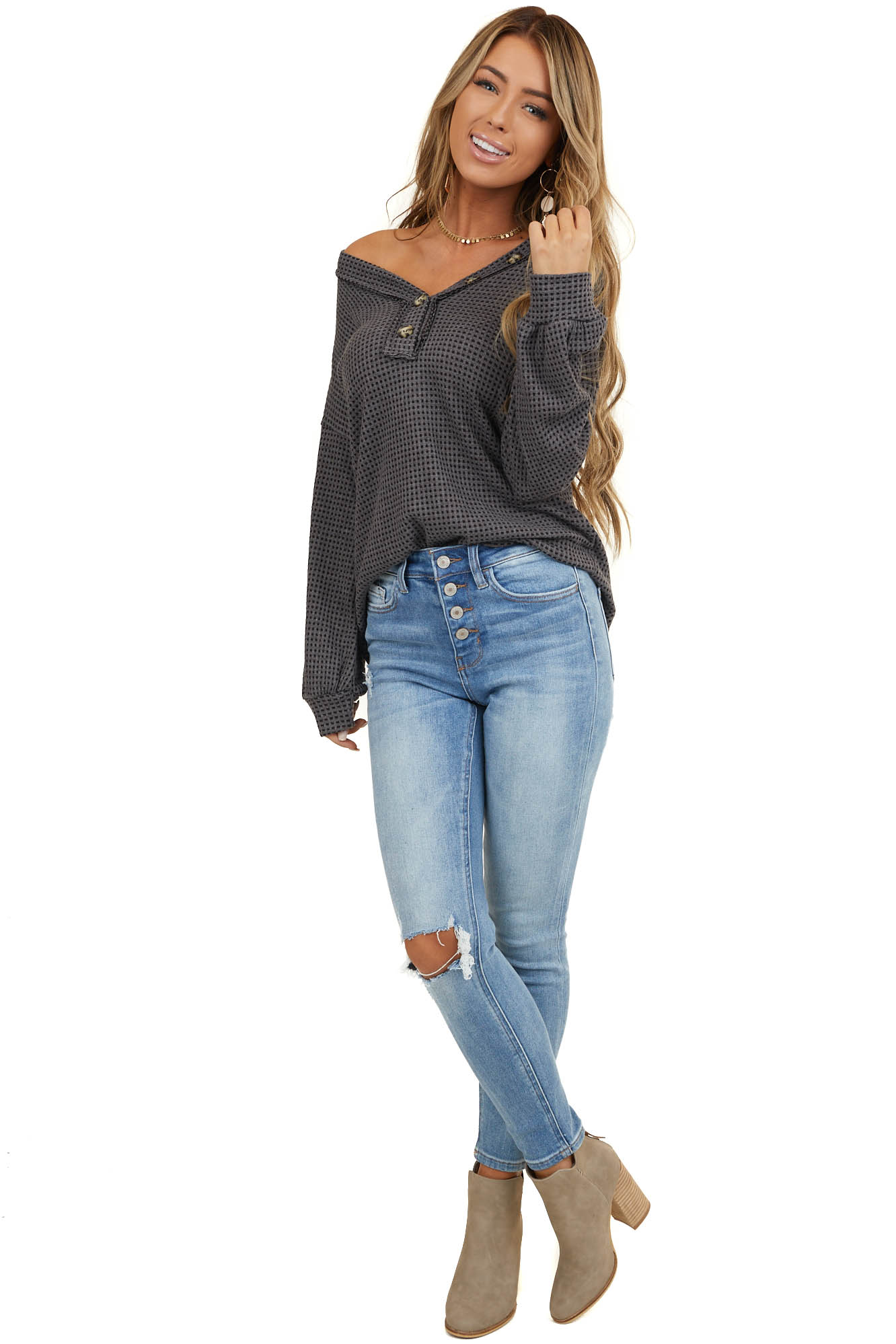 Charcoal Waffle Knit Top with Front Button Details