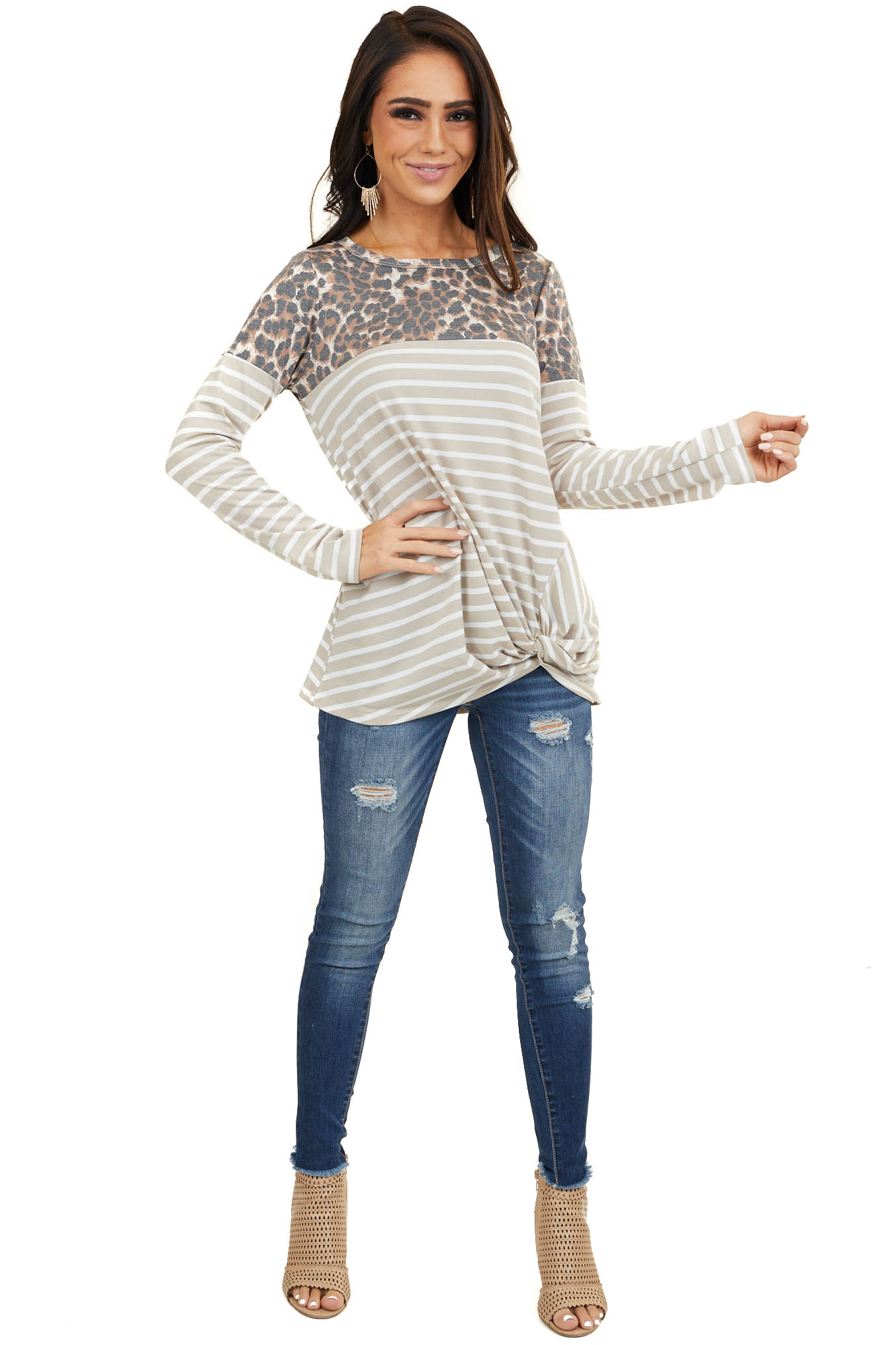 Beige Stripe Top with Leopard Print Contrast and Front Twist