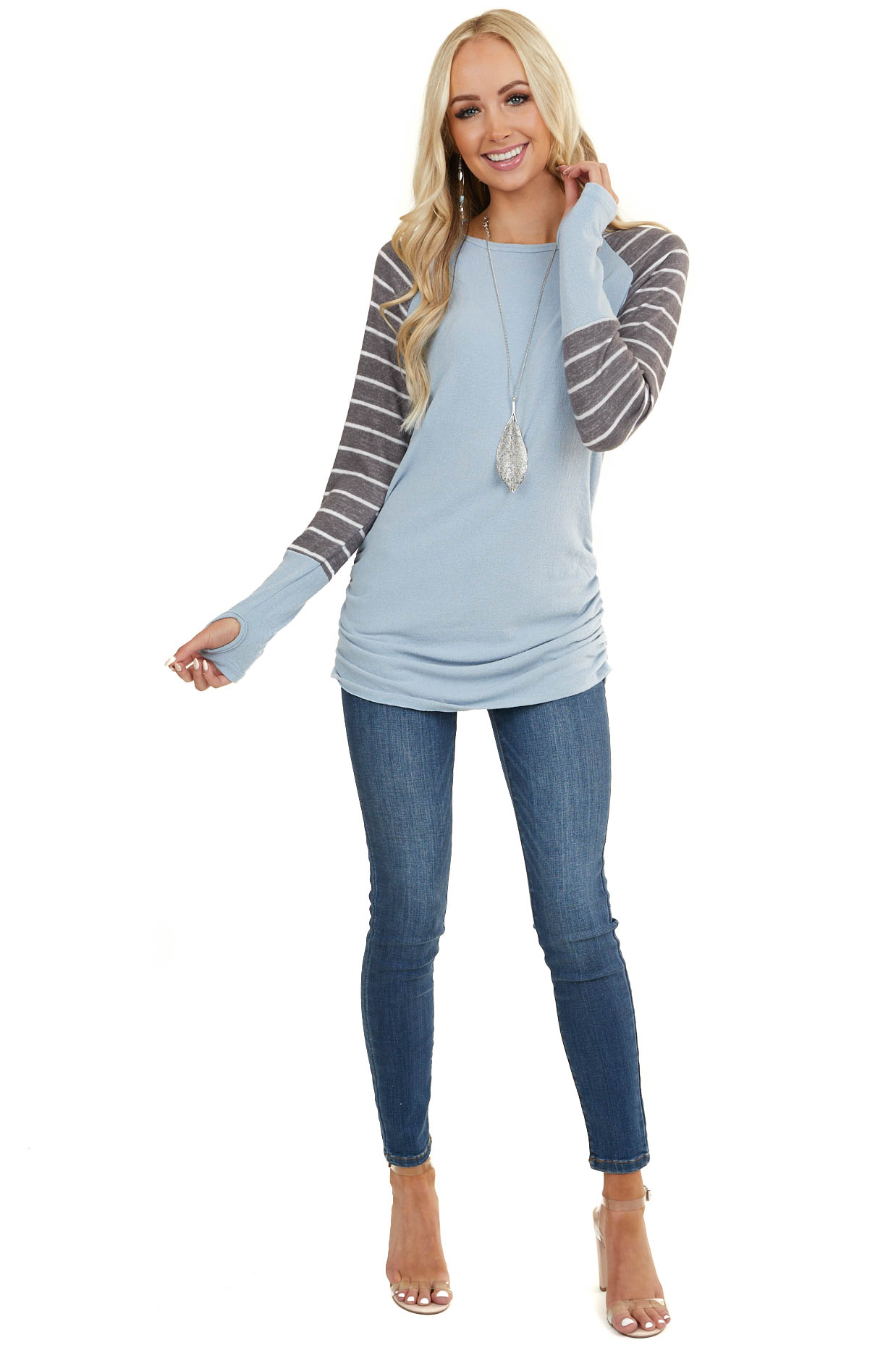 Light Blue Knit Top with Ruching and Stripe Contrast