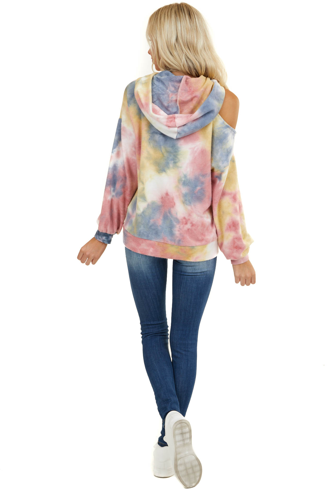 Dusty Pink Tie Dye Cold Shoulder Hoodie with Front Pocket