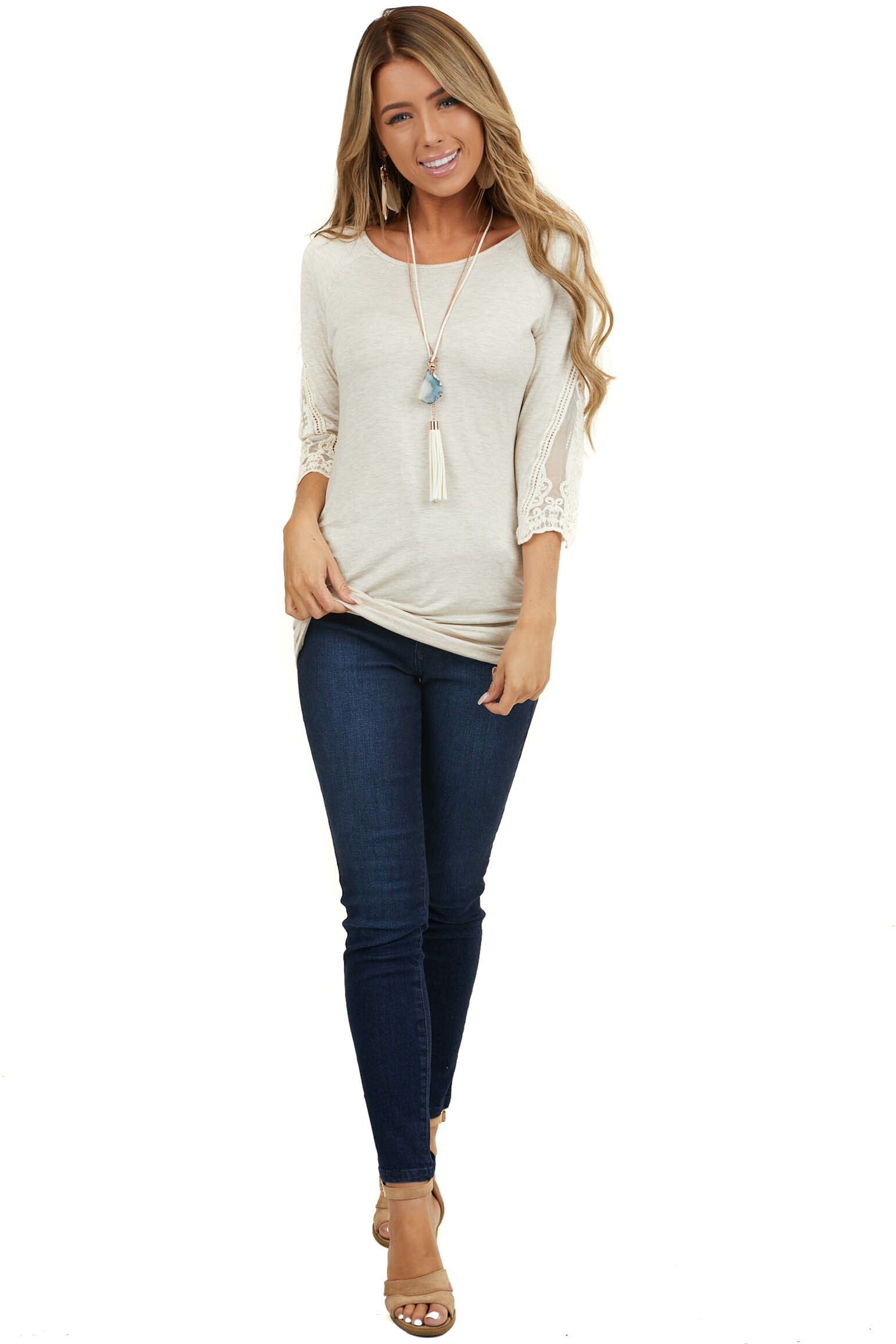 Oatmeal Lace 3/4 Sleeve Knit Top with Cinched Side Details