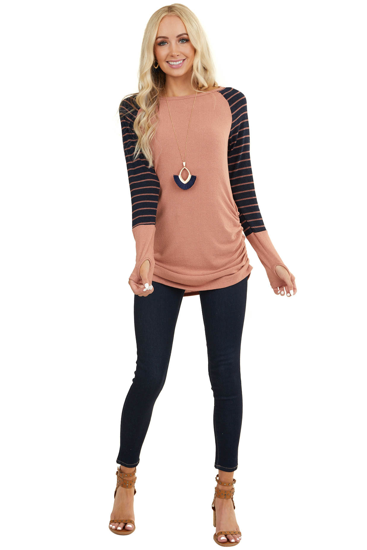 Dark Salmon Knit Top with Ruching and Stripe Contrast