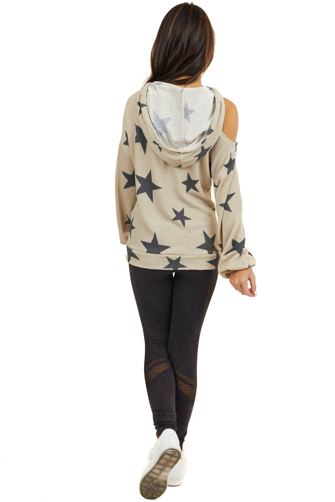 Taupe Cold Shoulder Hoodie with Front Pocket and Stars