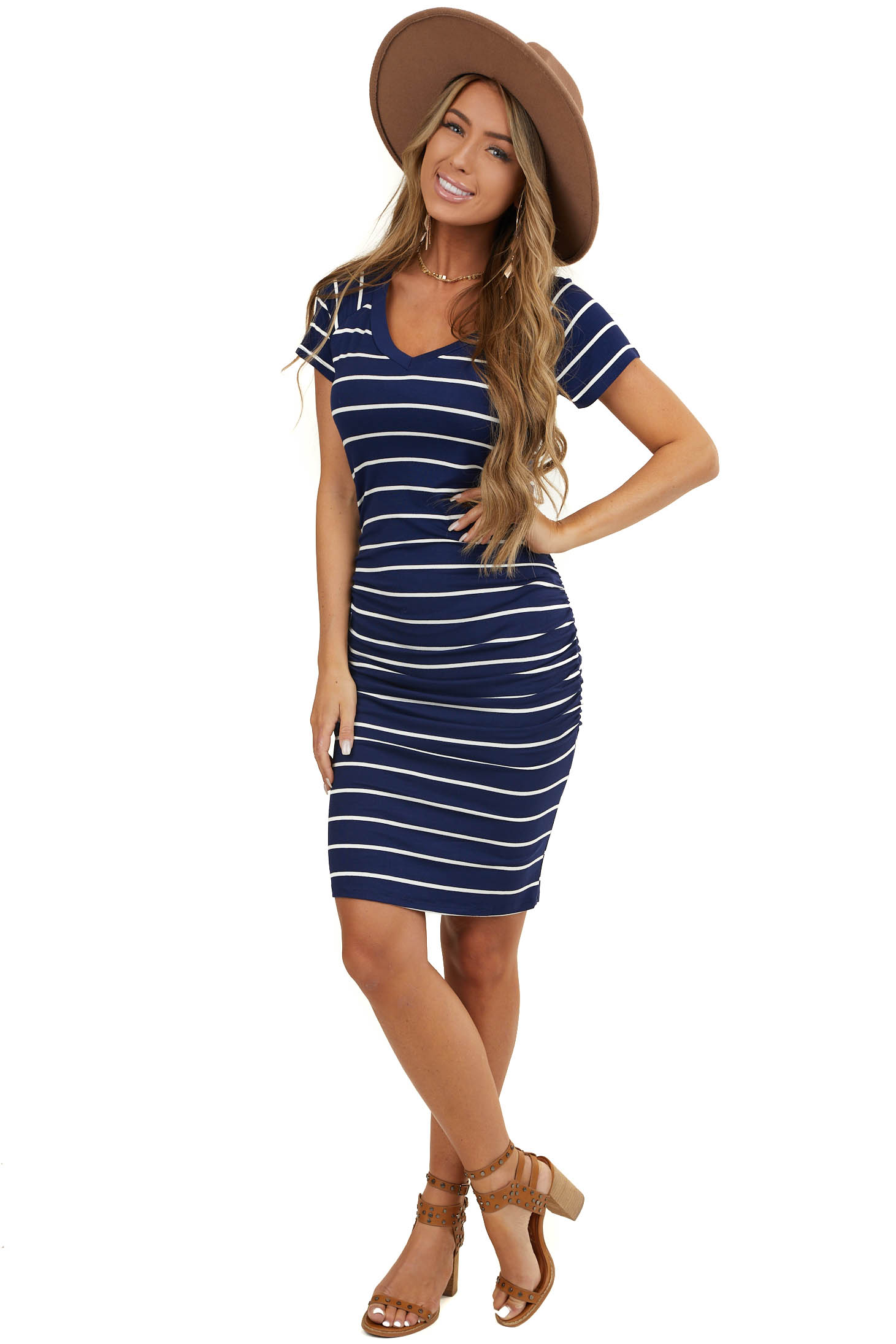 Navy and White Striped Print Mini Bodycon Cinched Dress