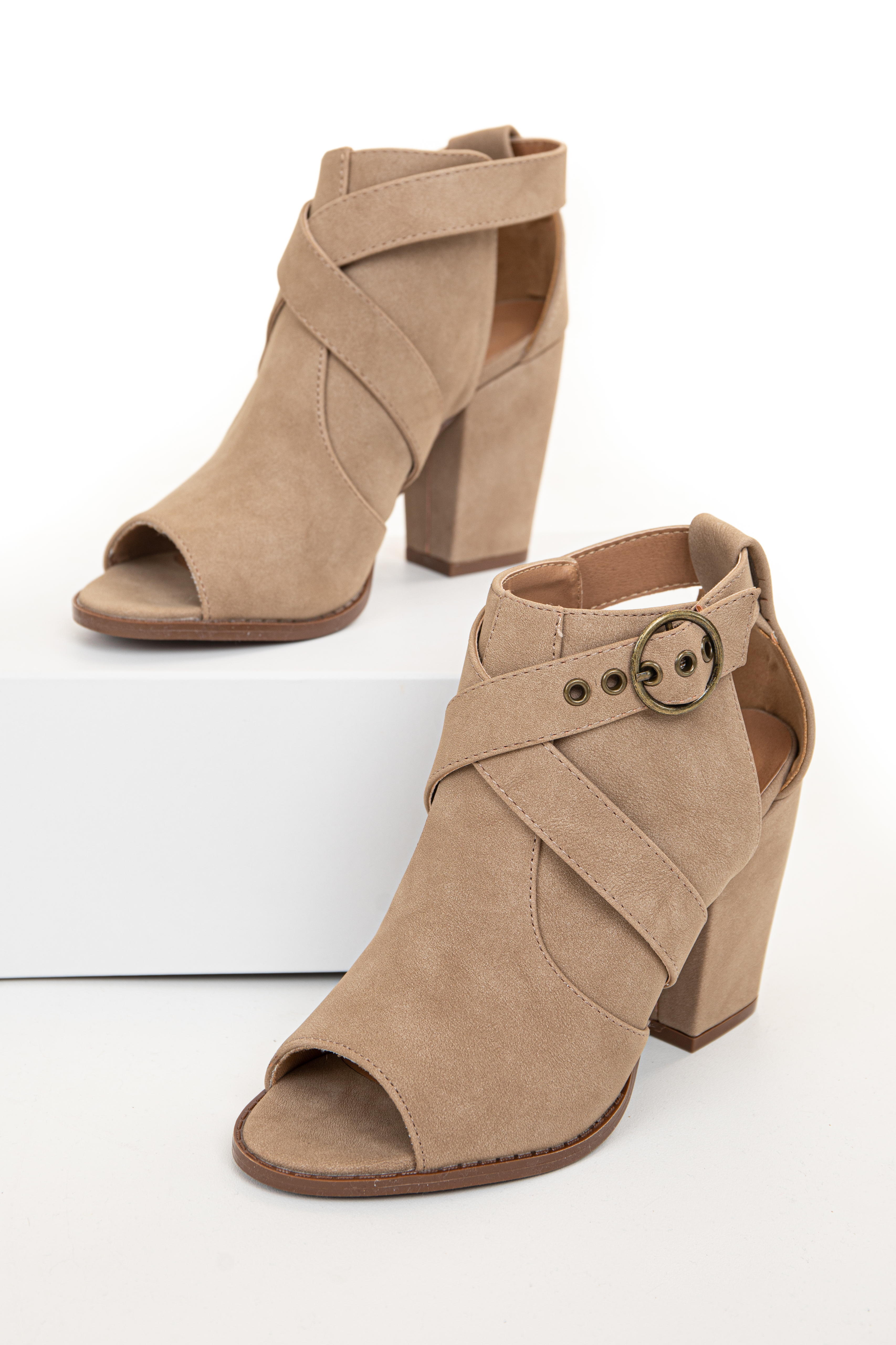 Taupe Faux Suede Open Toed Heels with Side Buckle Strap