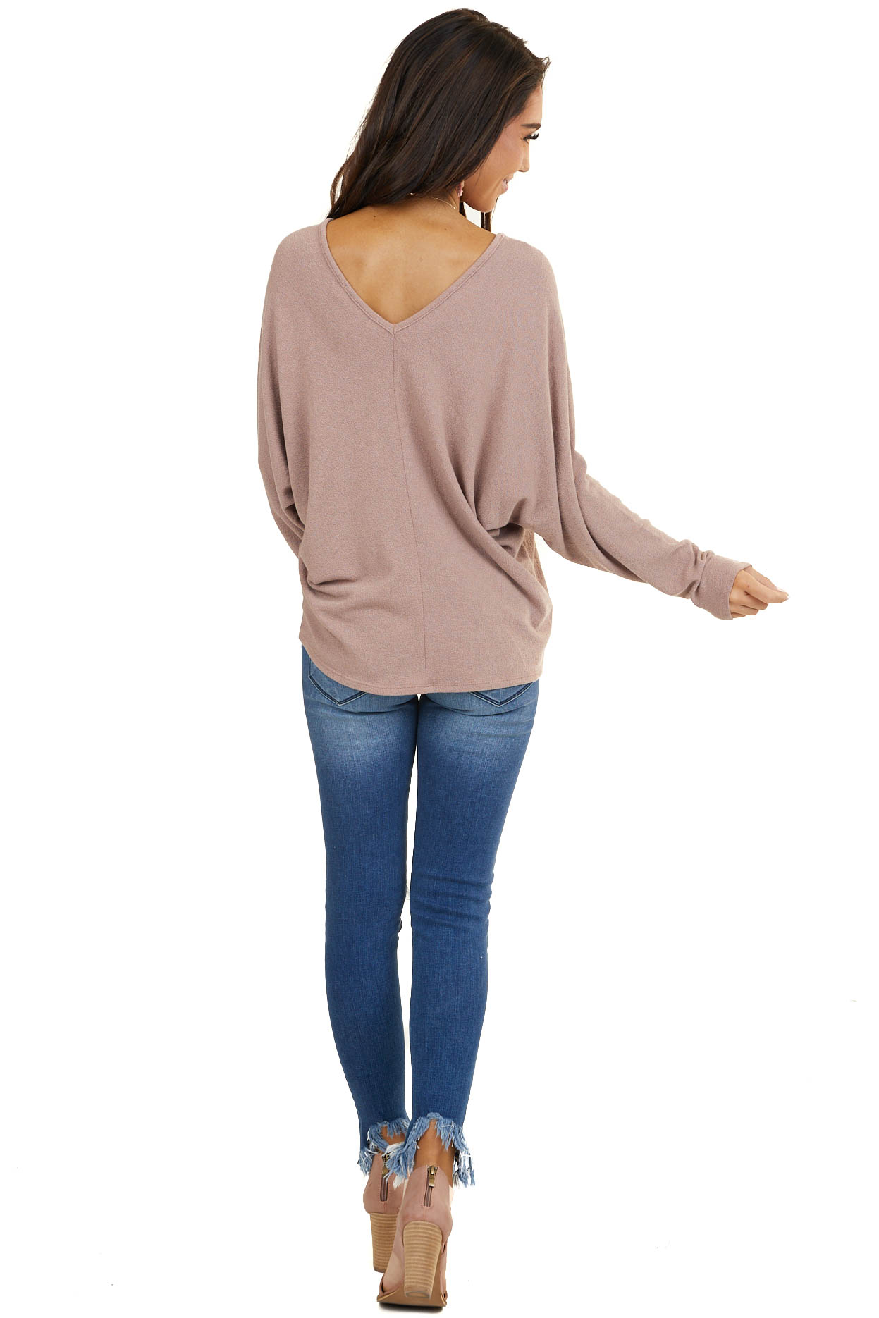Dusty Rose V Neck Top with Dolman Sleeves and Center Seam