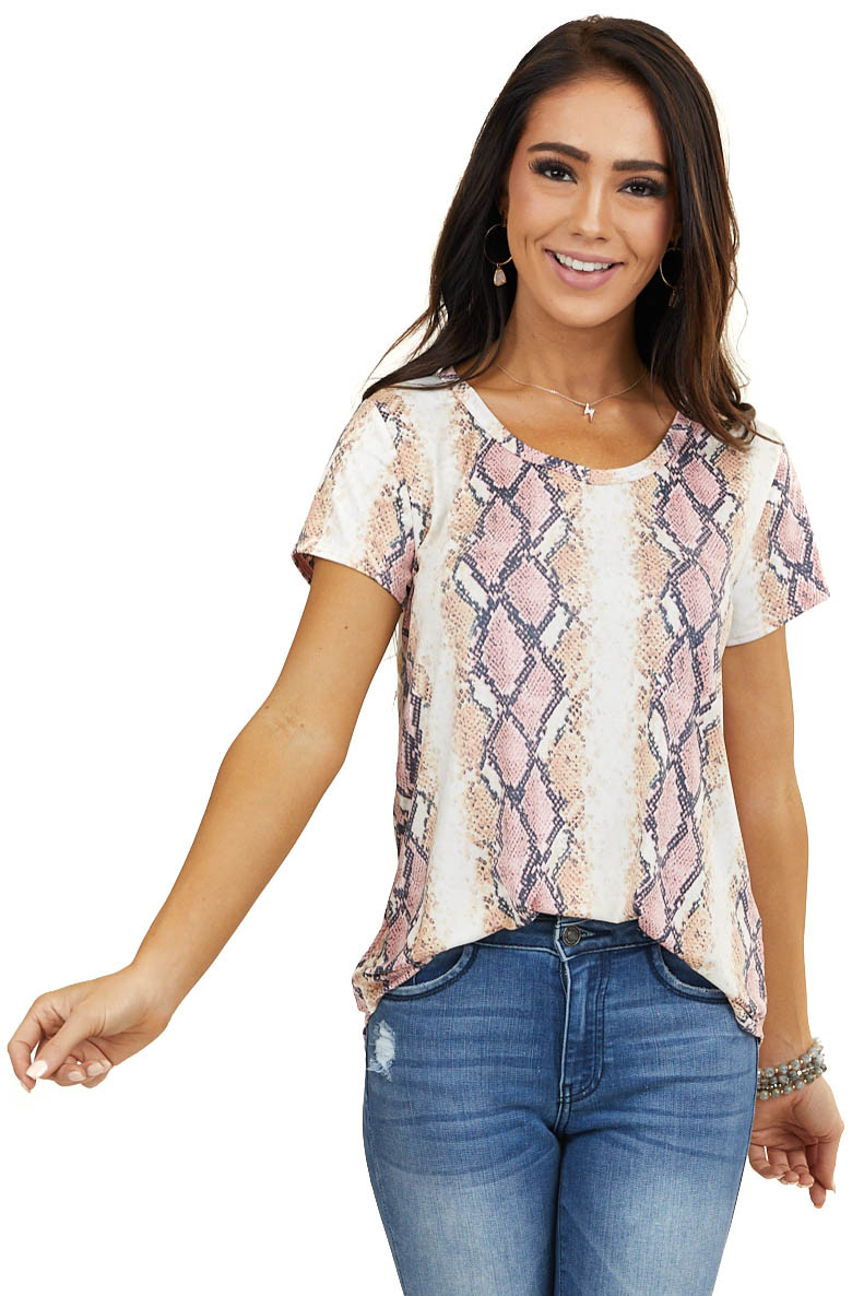 Ivory and Pink Snakeskin Print Silky Short Sleeve Knit Top