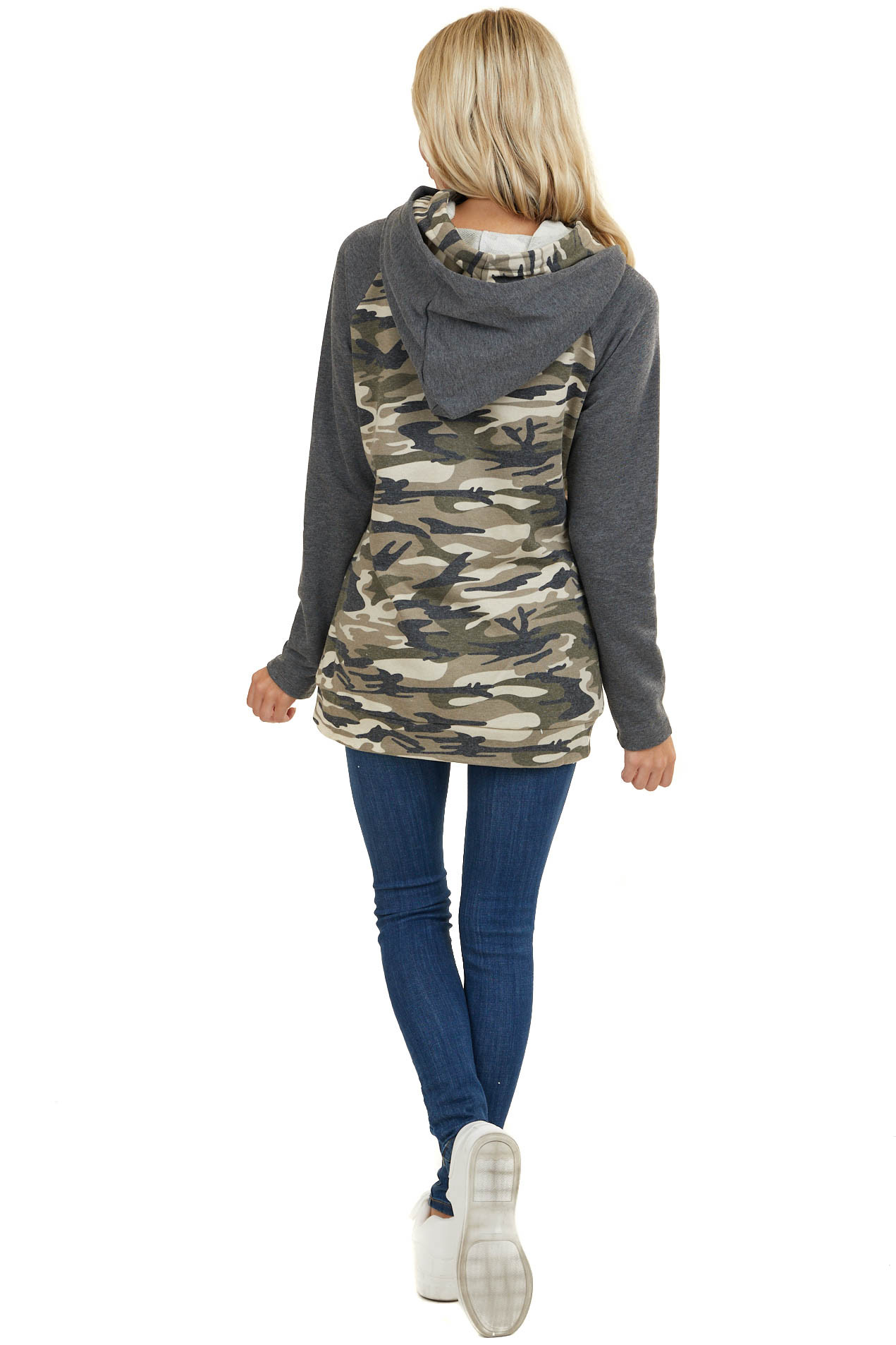 Charcoal Grey Camo Hoodie with Double Hood and Zipper Detail