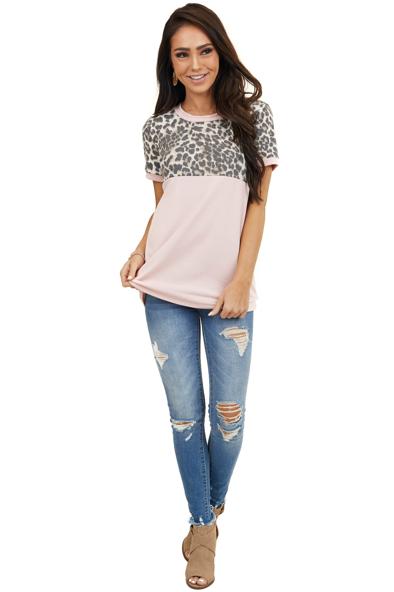 Blush Pink Short Sleeve Top with Leopard Print Colorblock