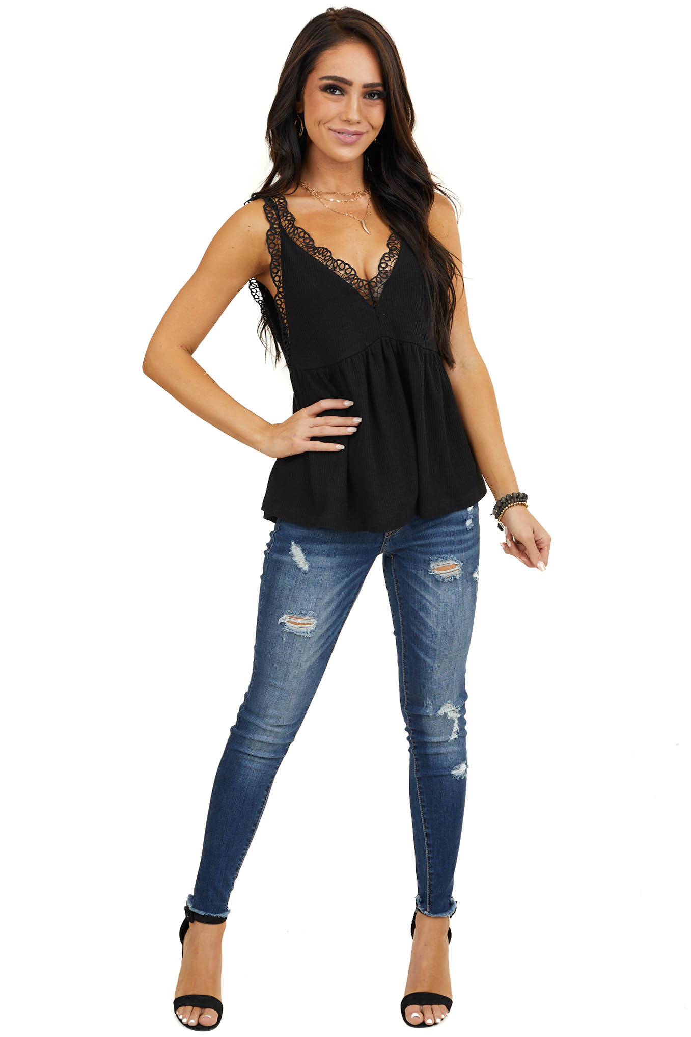 Black V Neck Tank Top with Crochet Lace Trim