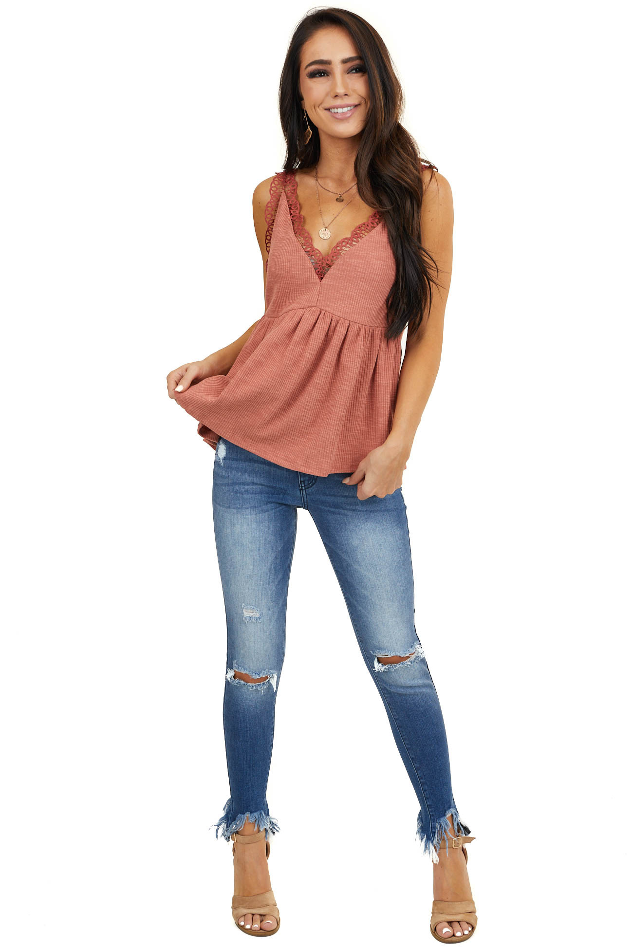 Dusty Salmon V Neck Tank Top with Crochet Lace Trim