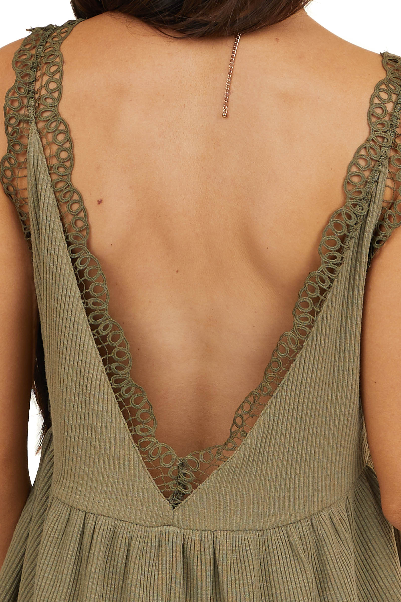 Dusty Olive V Neck Tank Top with Crochet Lace Trim