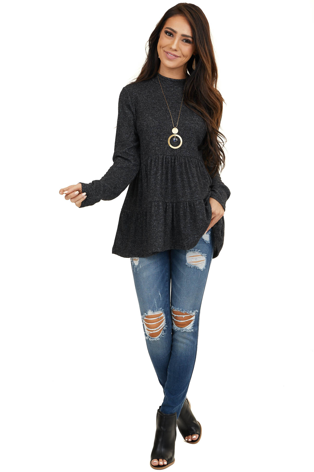 Heathered Charcoal Mock Neck Knit Top with Long Sleeves