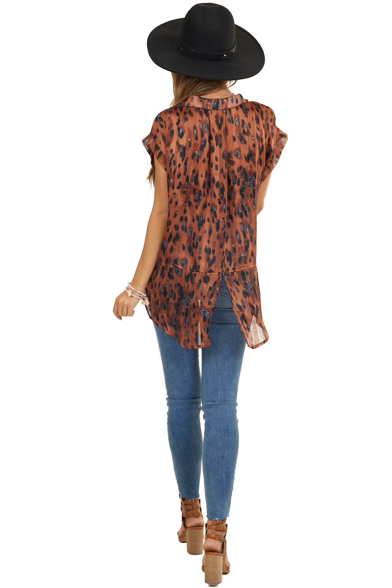 Burnt Orange Cheetah Print Button Up Top with Short Sleeves