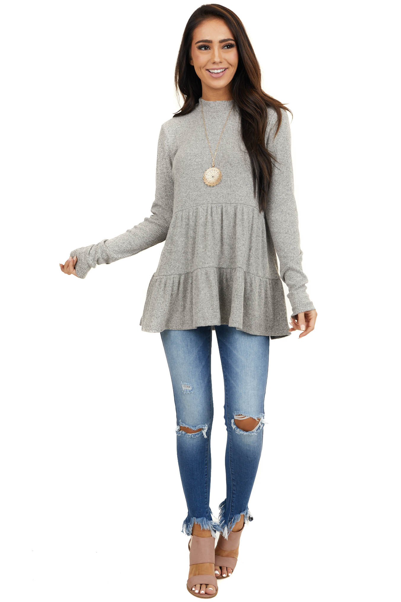 Heathered Light Grey Mock Neck Knit Top with Long Sleeves