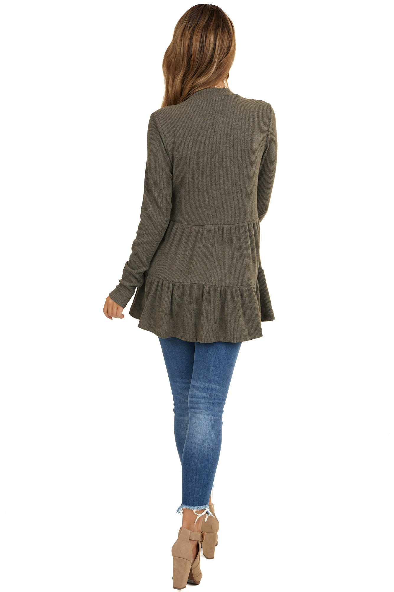 Heathered Dark Olive Mock Neck Knit Top with Long Sleeves