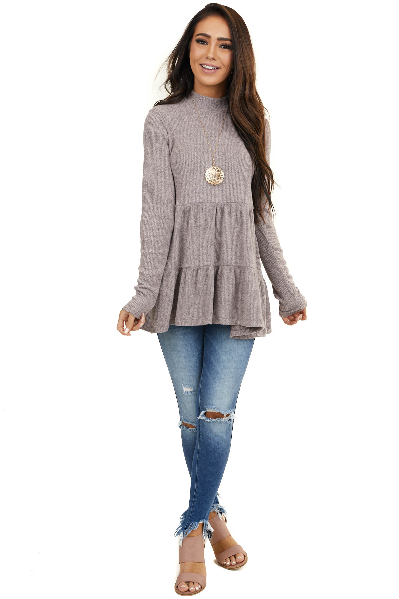 Heathered Dusty Rose Mock Neck Knit Top with Long Sleeves