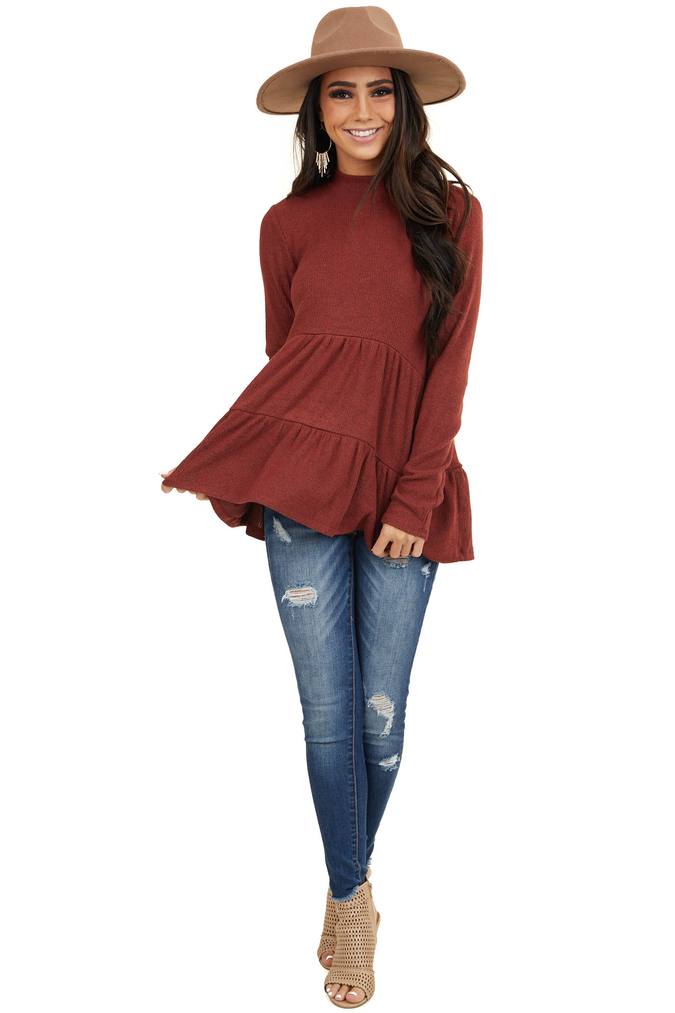 Heathered Burgundy Mock Neck Knit Top with Long Sleeves