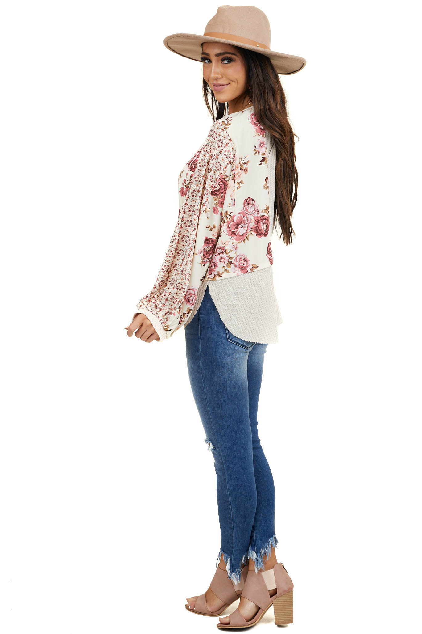 Cream Waffle Knit Top with Floral Print Contrast Detail