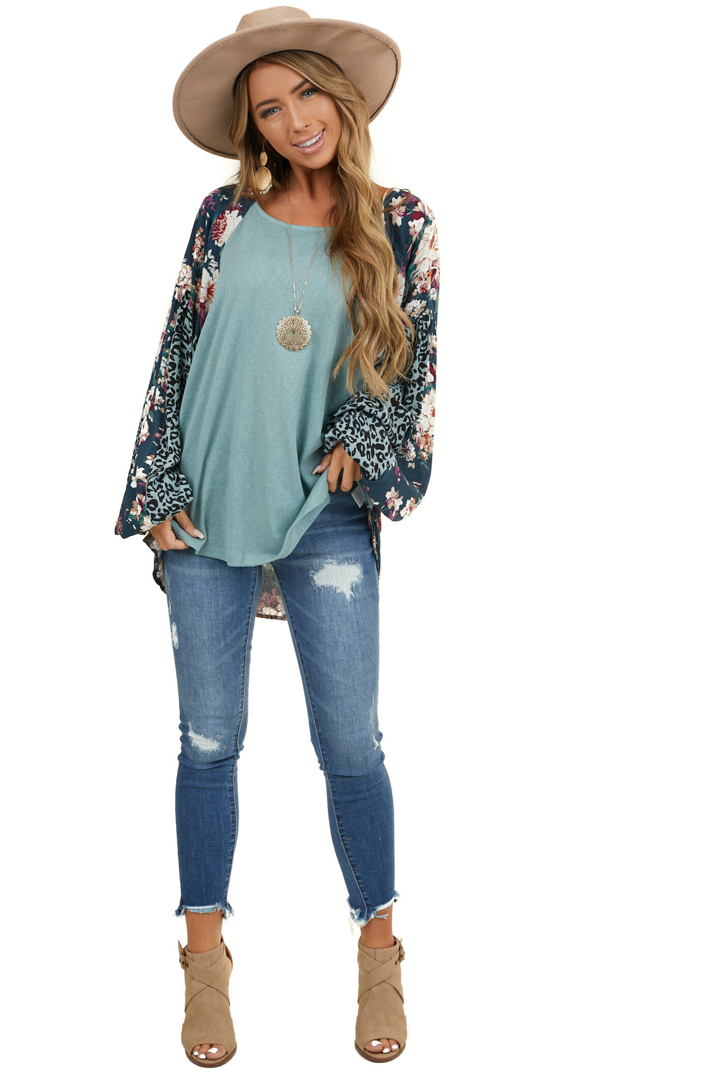 Sage Long Sleeve Top with Multiprint Contrast Details
