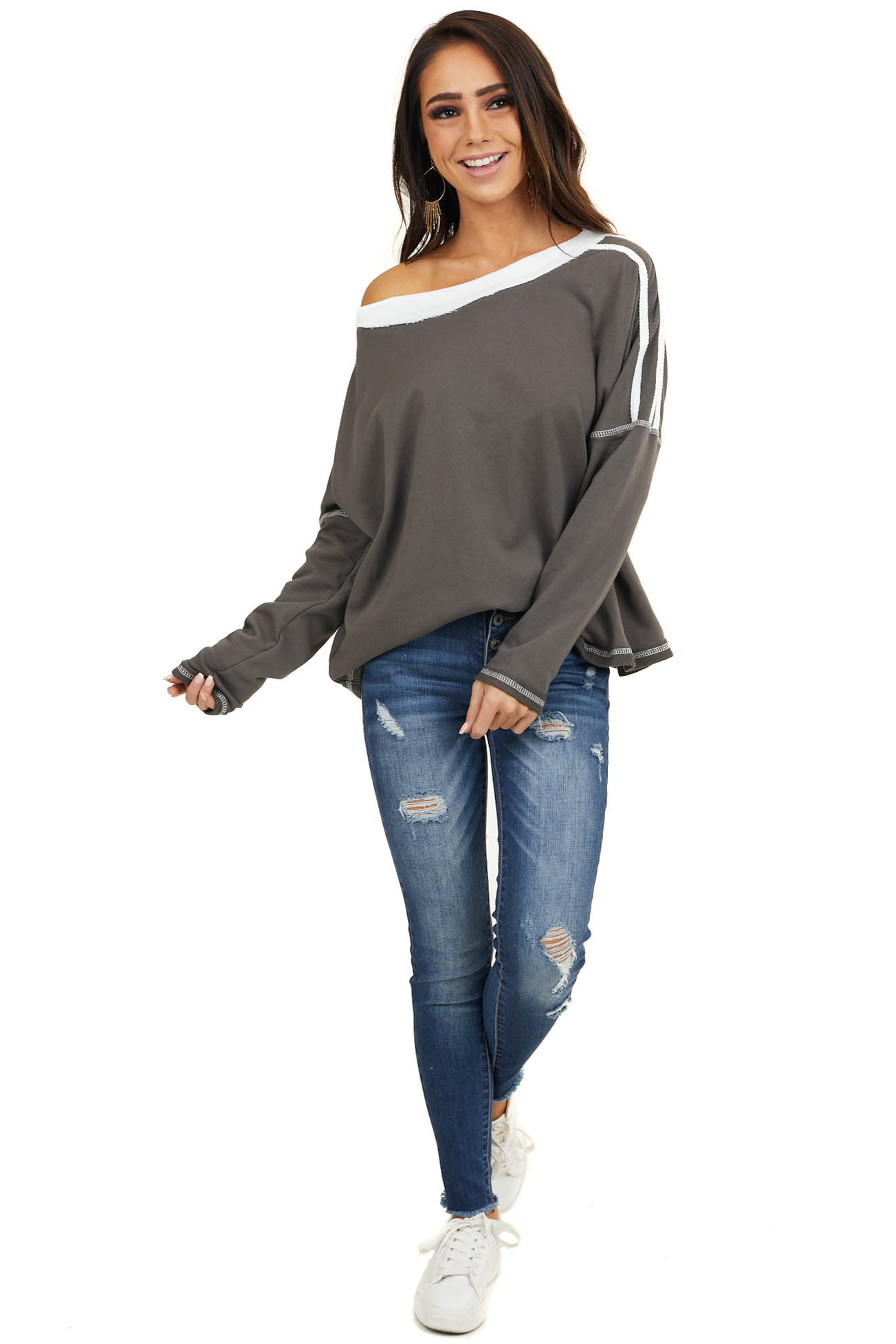 Charcoal and Ivory Long Sleeve Top with Stitching Detail