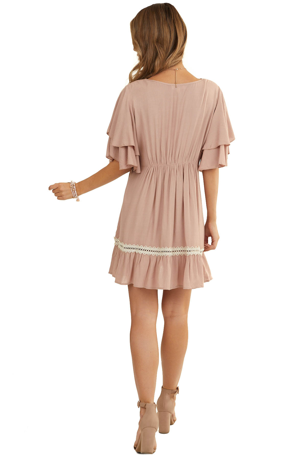 Latte Dress with Short Ruffled Sleeves and Lace Details
