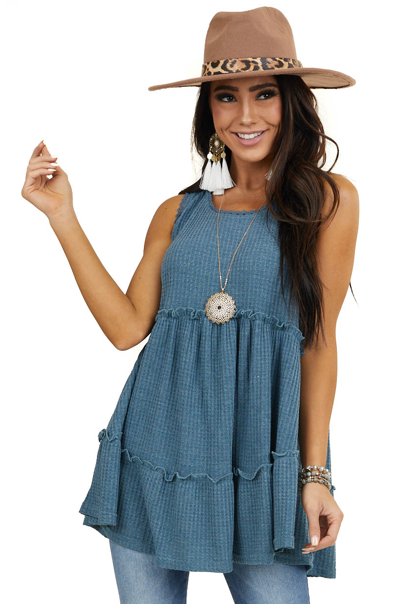 Dusty Teal Babydoll Waffle Knit Top with Lace Details