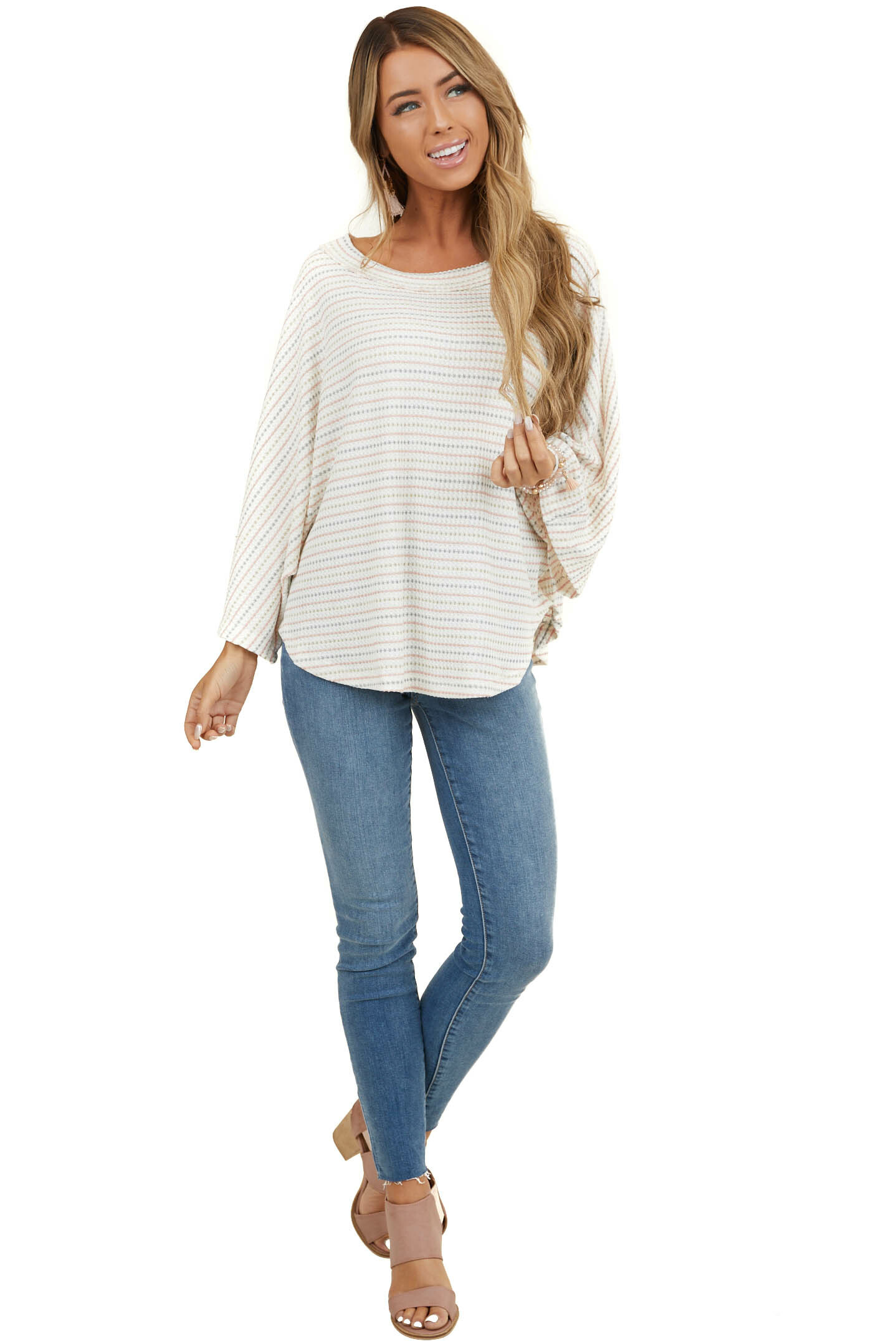 Ivory Multicolor Striped Waffle Knit Top with Loose Sleeves