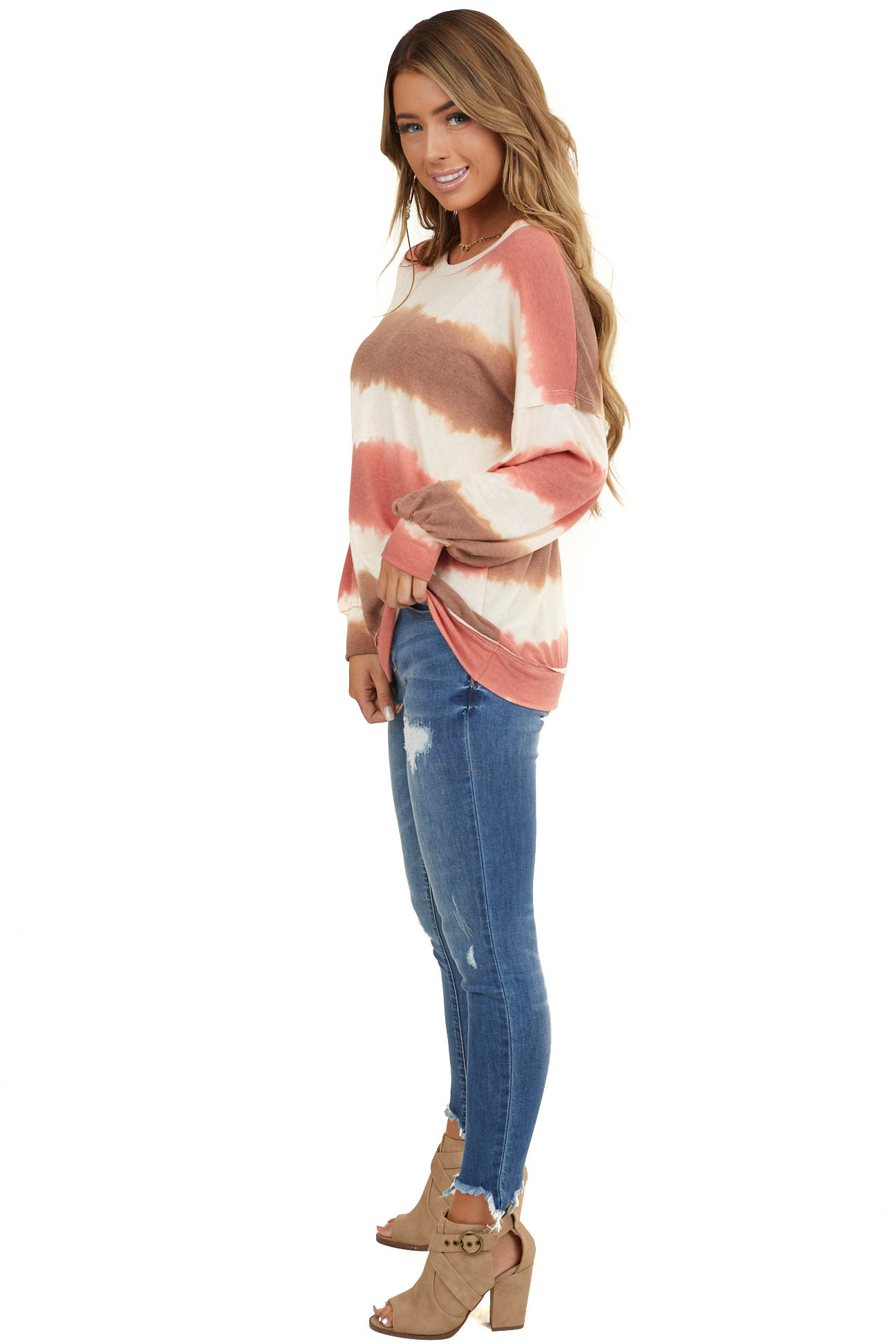 Sienna and Coral Tie Dye Round Neckline Long Sleeve Top