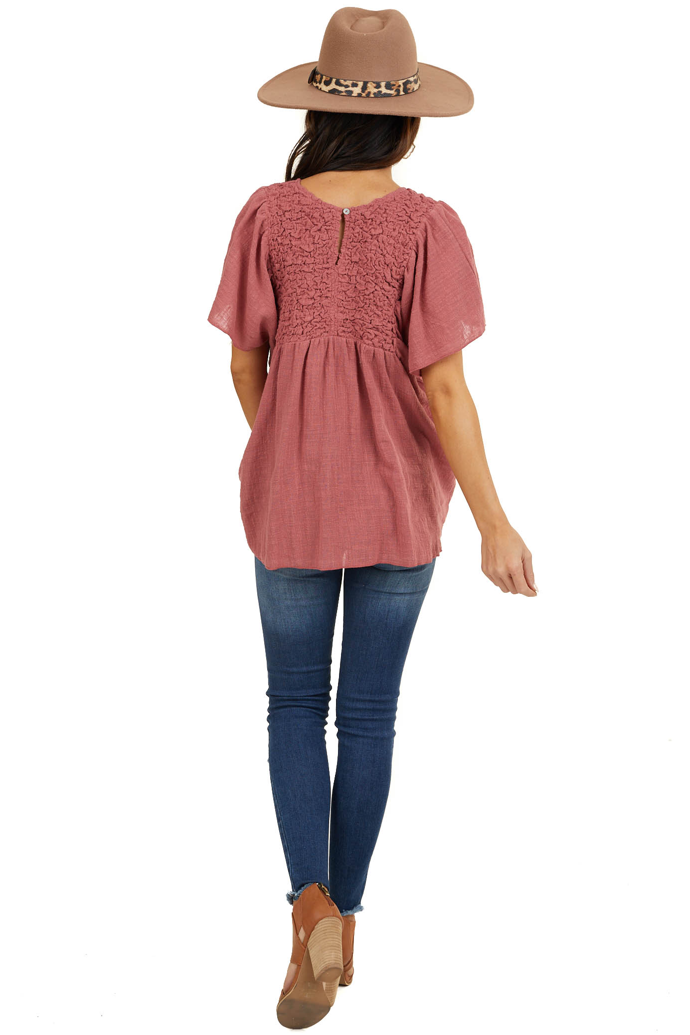 Dusty Coral Short Sleeve Woven Top with Textured Detail