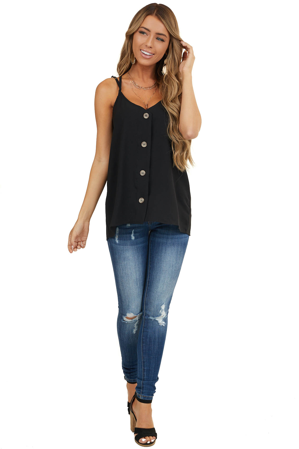 Black Button Up Tank Top with Criss Cross Straps