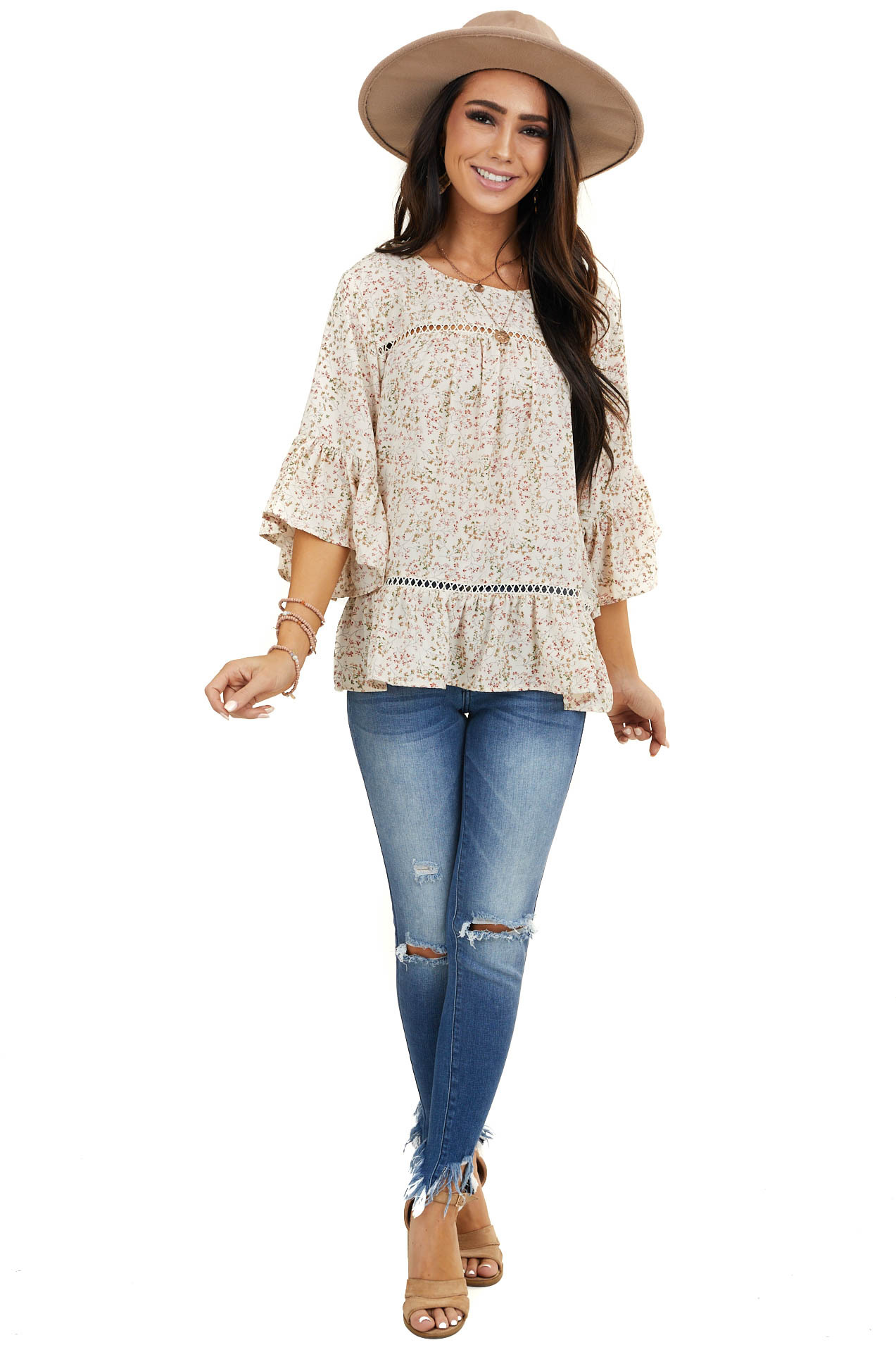Cream Floral Print 3/4 Length Sleeve Top with Lace Details