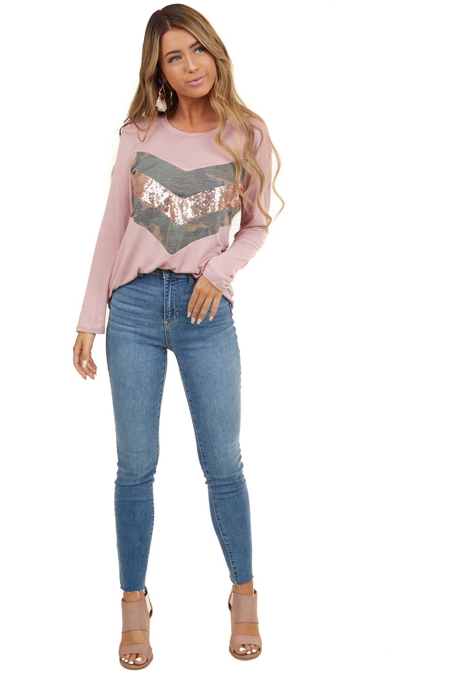 Dusty Blush Long Sleeve Top with Sequin and Camo Details