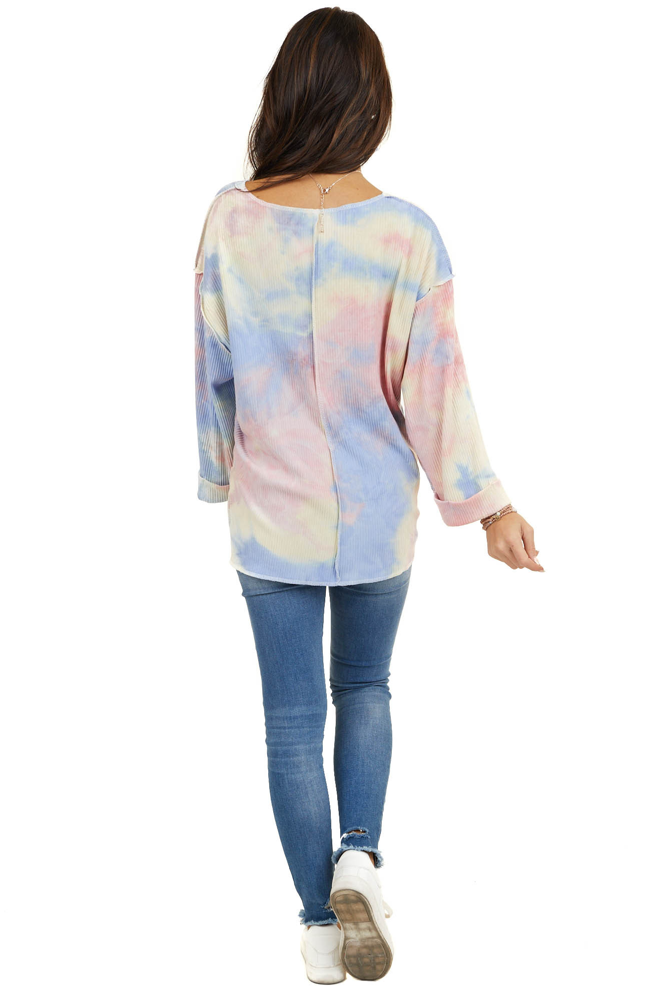 Multicolor Tie Dye Ribbed Knit Top with Long Cuffed Sleeves