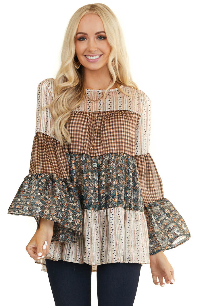 Multiprint Tiered Woven Top with Long Flared Sleeves