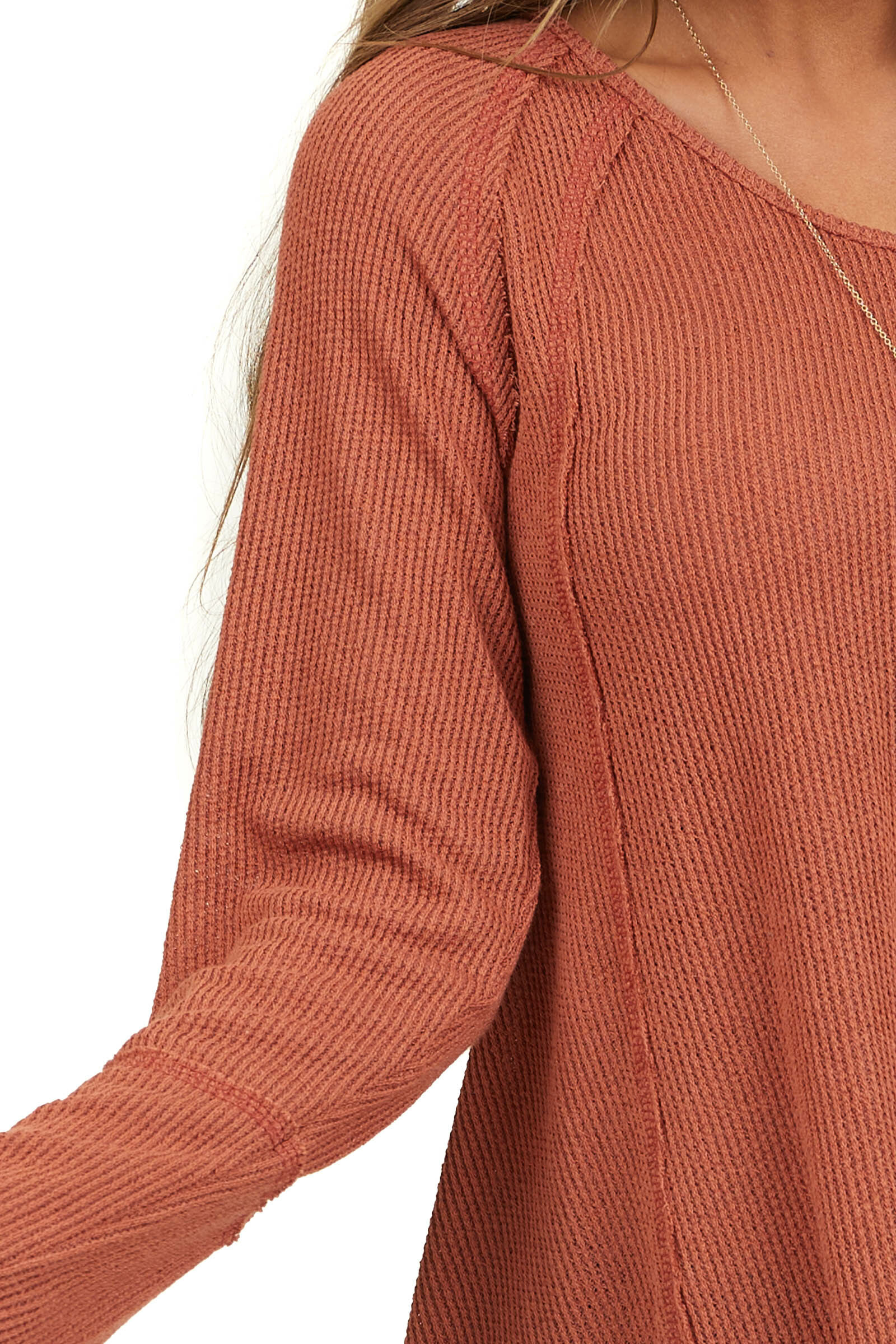 Terracotta Long Sleeve Knit Top with Raw Hemline Details