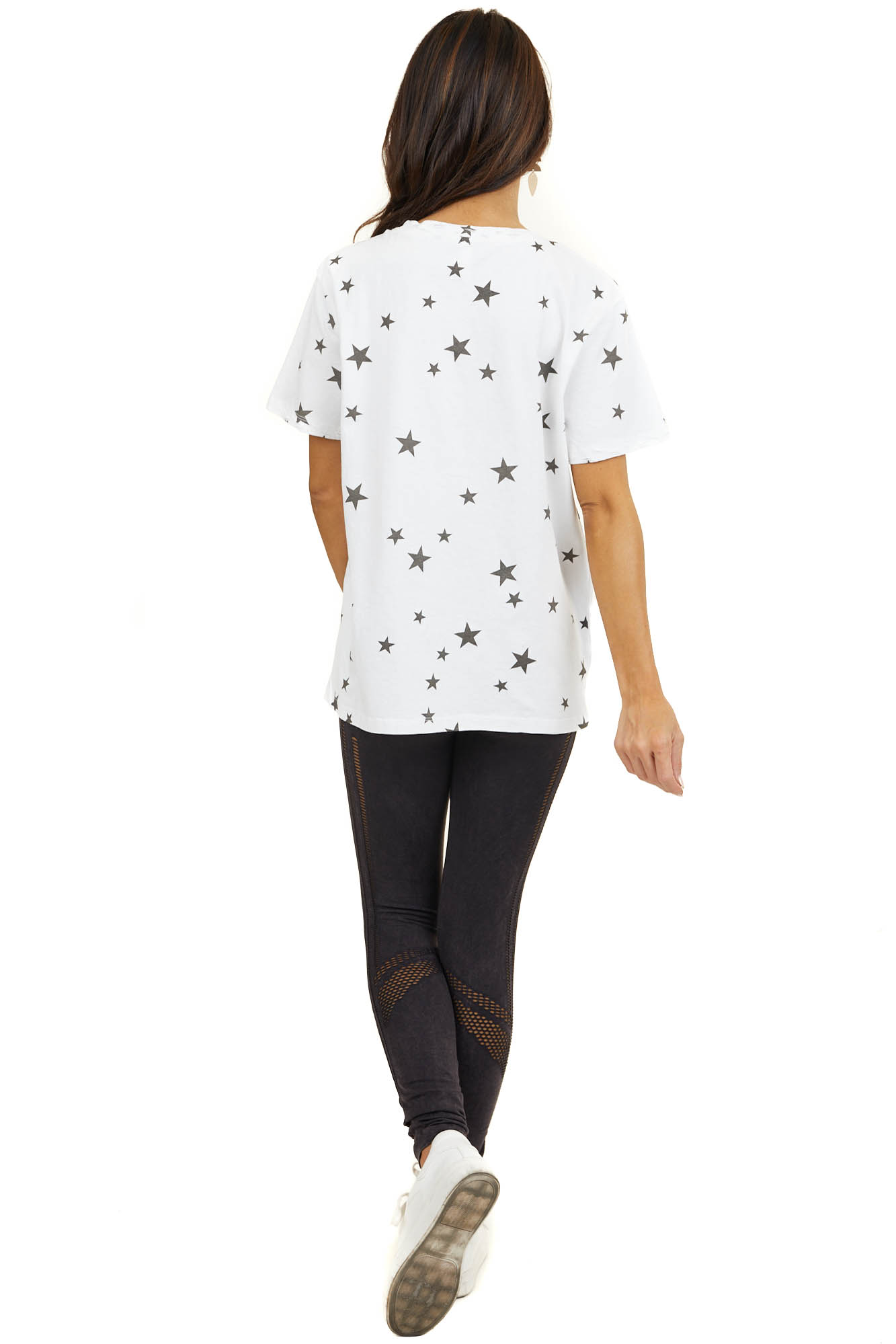 Off White Star Print Short Sleeve Top with Laser Cut Detail