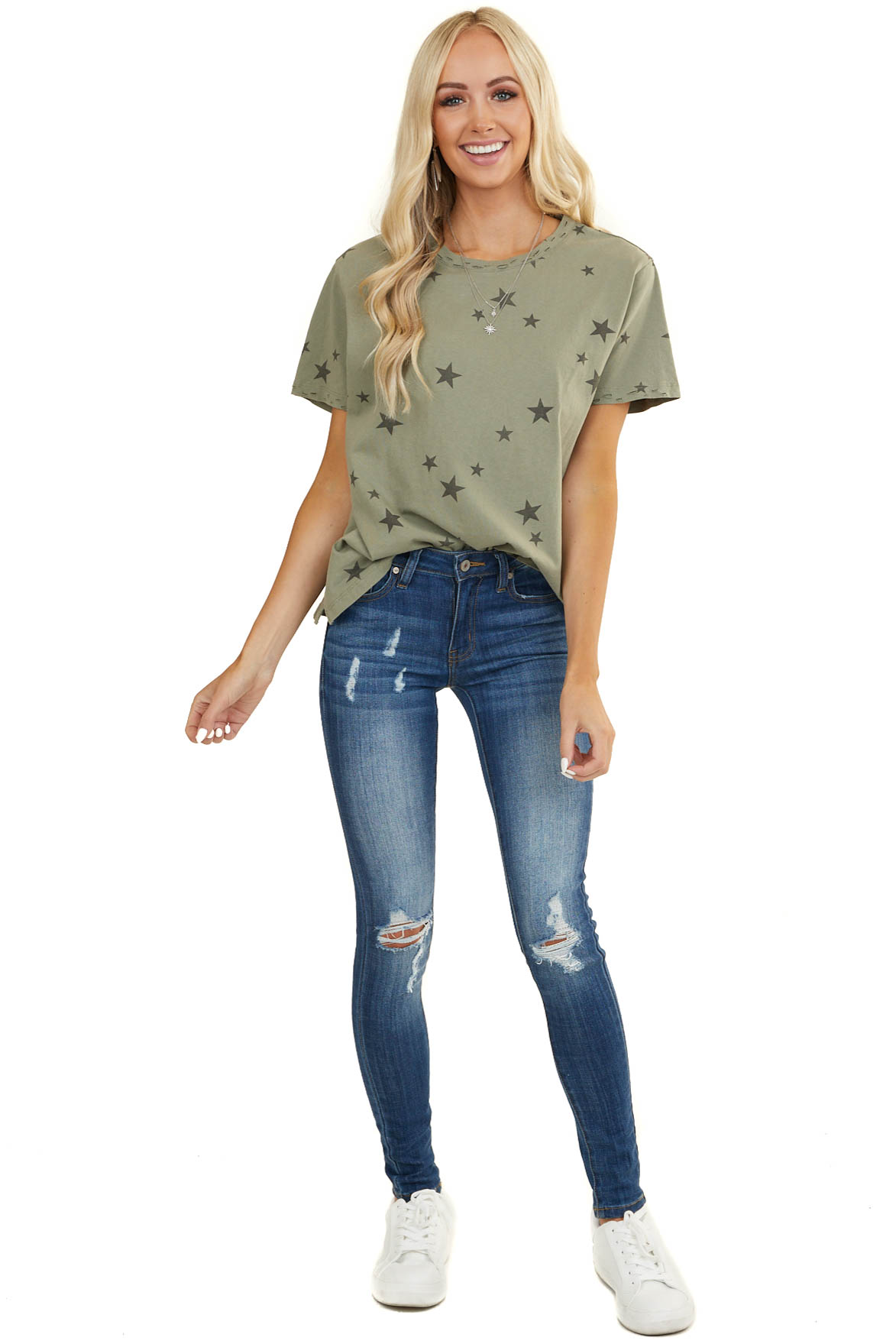 Dusty Sage Star Print Short Sleeve Top with Laser Cut Detail
