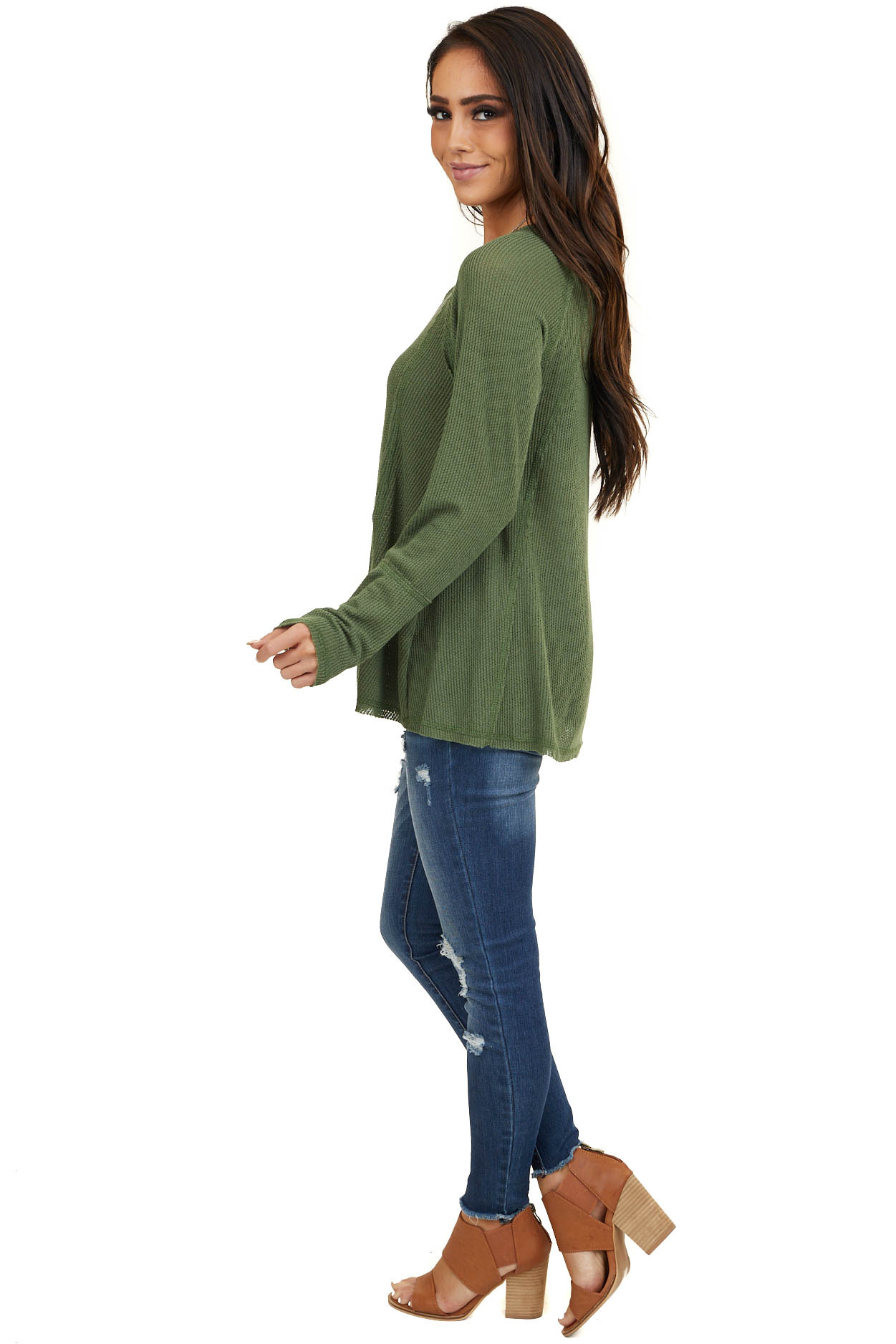 Olive Long Sleeve Knit Top with Raw Hemline Details