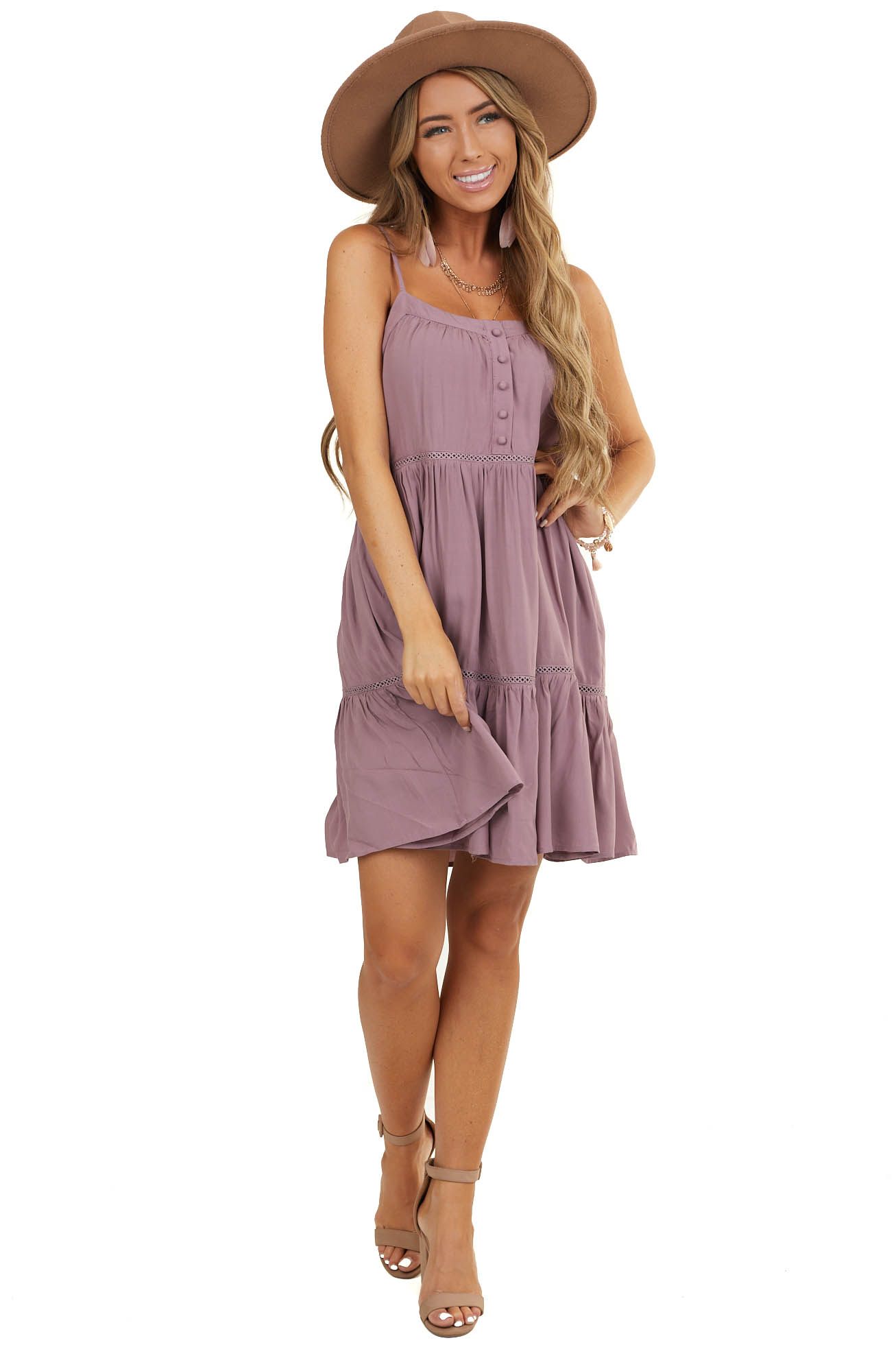 Lavender Sleeveless Dress with Lace and Button Details