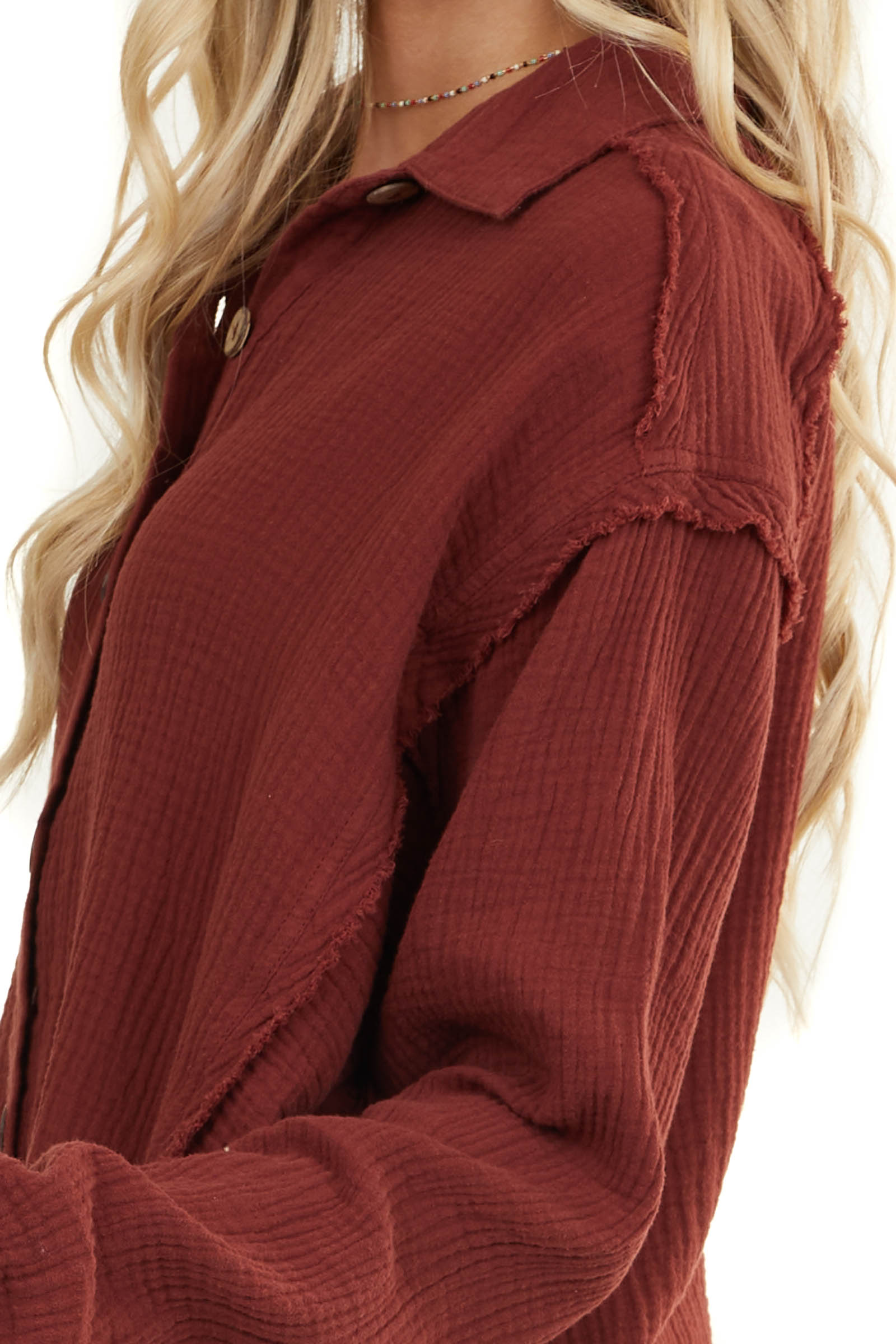 Burgundy Long Sleeve Button Up Top with Frayed Hemline